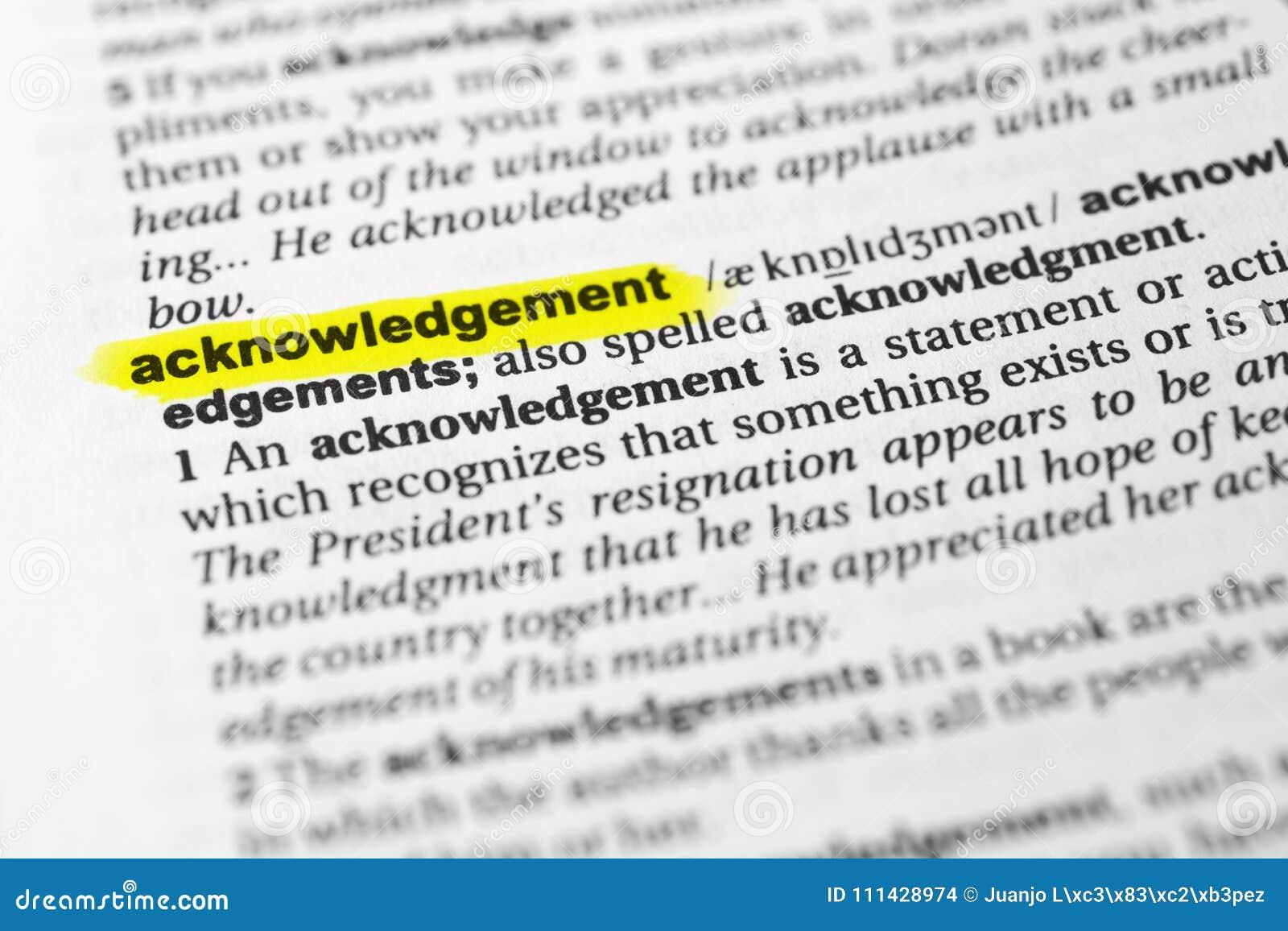 ` Inglés destacado del acuse de recibo del ` de la palabra y su definición en el diccionario