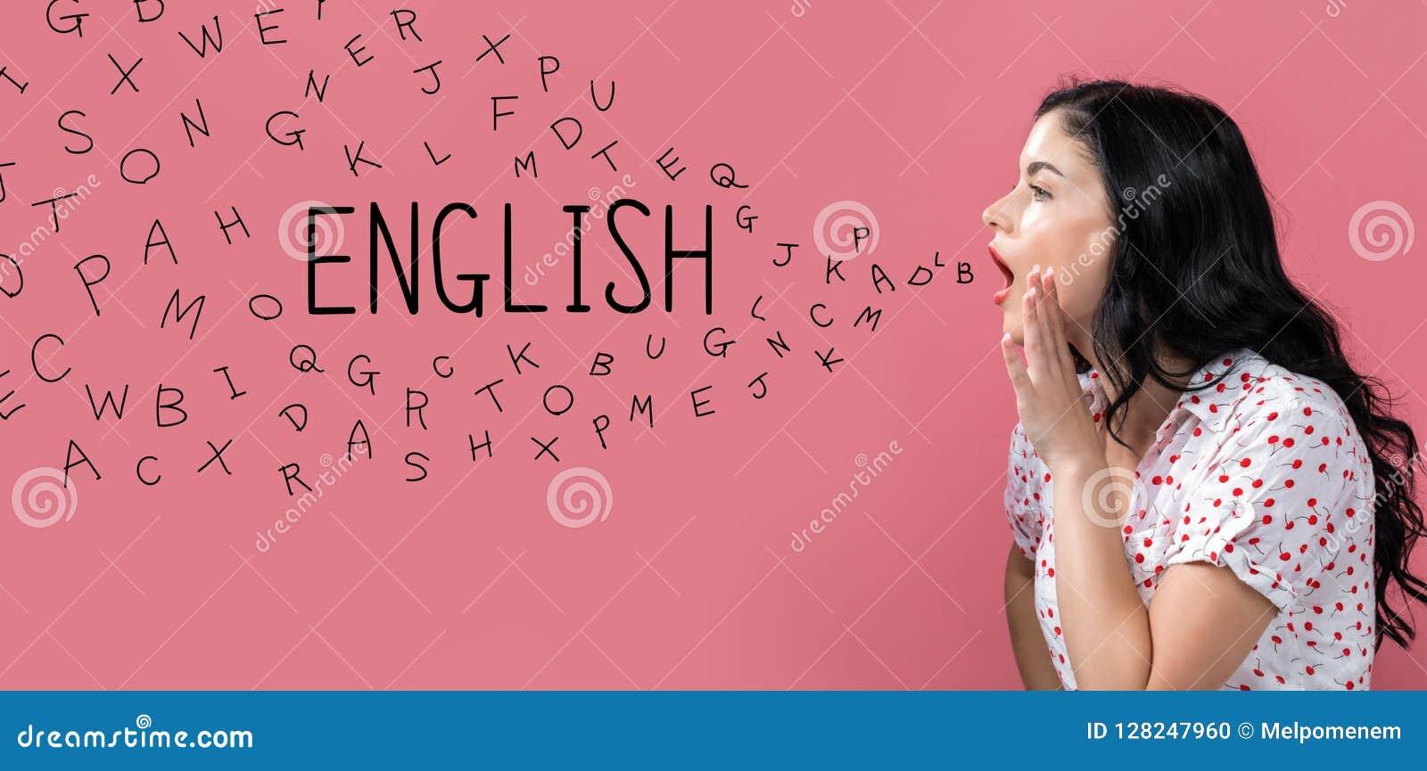 Inglês com letras do alfabeto com discurso da jovem mulher