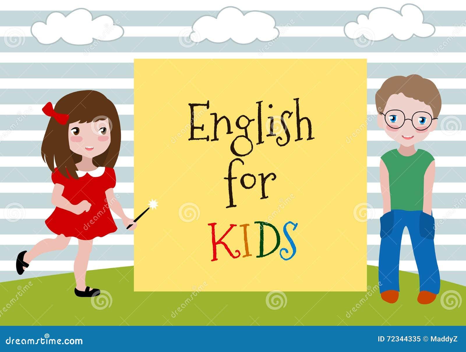 Inglês para crianças Vector a ilustração das duas crianças que aprendem o inglês Escola de língua para crianças