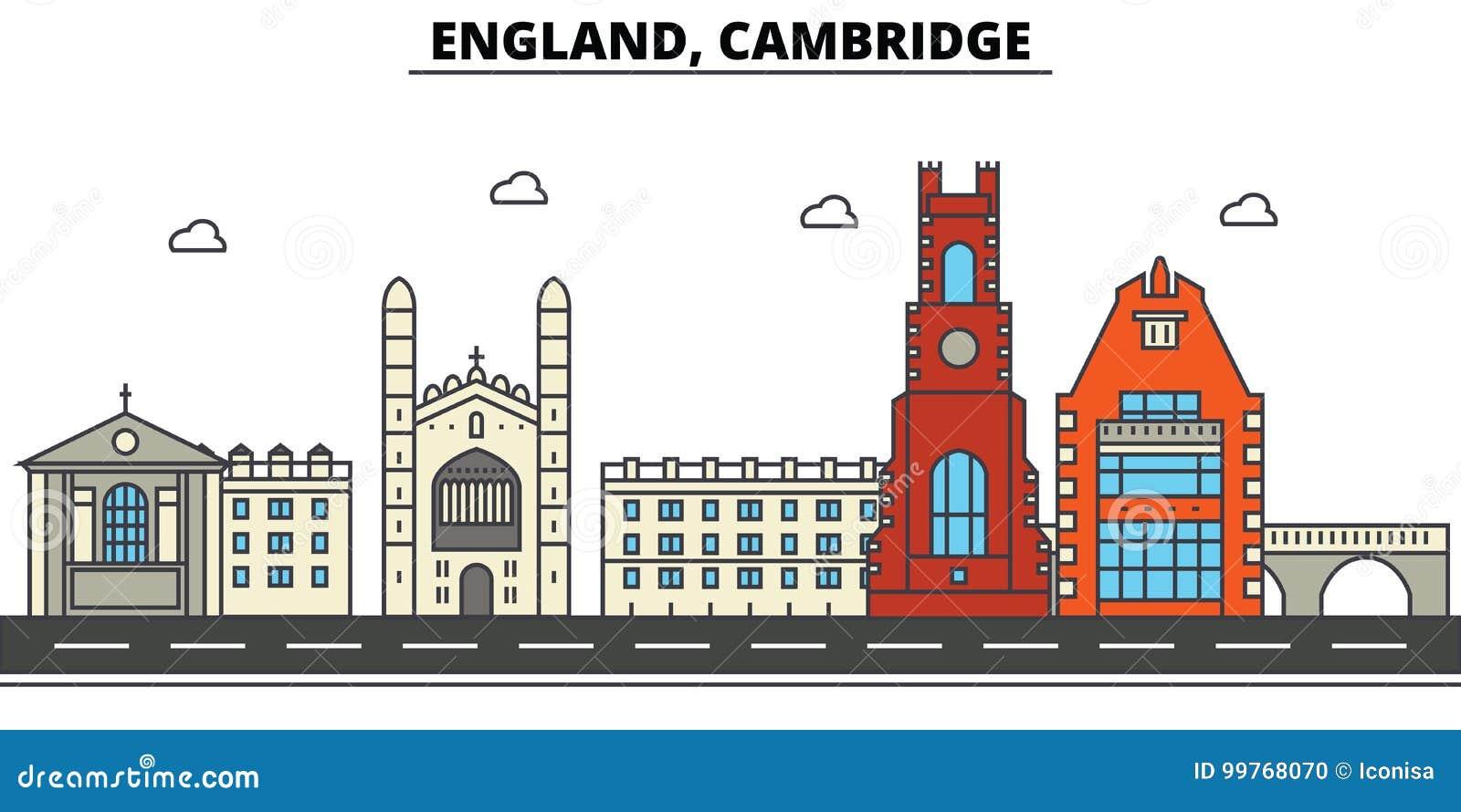 Inglaterra, Cambridge Arquitetura da skyline da cidade editável