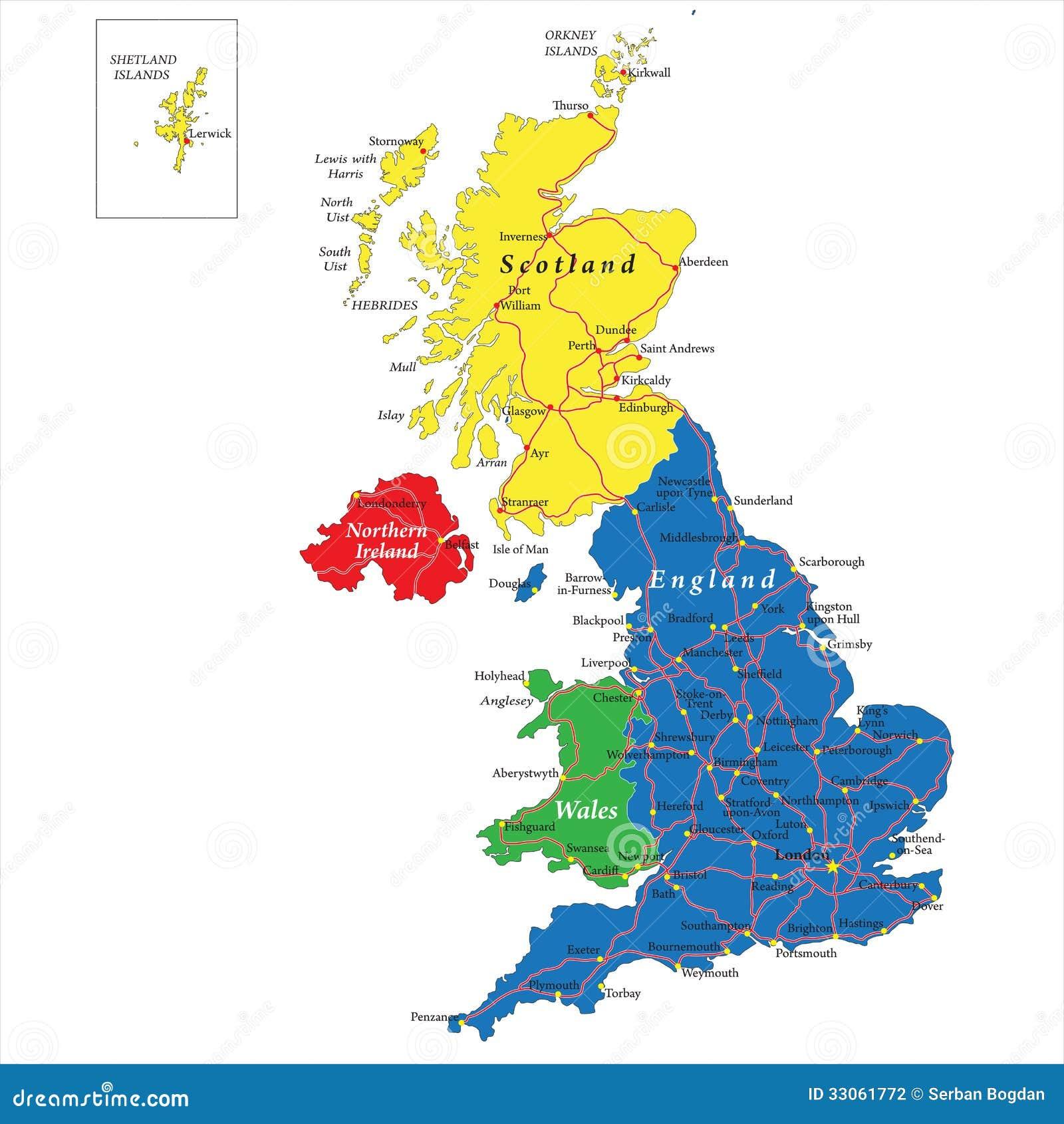 Escocia Mapa Reino Unido.Inglaterra Escocia Pais De Gales E Irlanda Del Norte Trazan Ilustracion Del Vector Ilustracion De Irlanda Norte 33061772