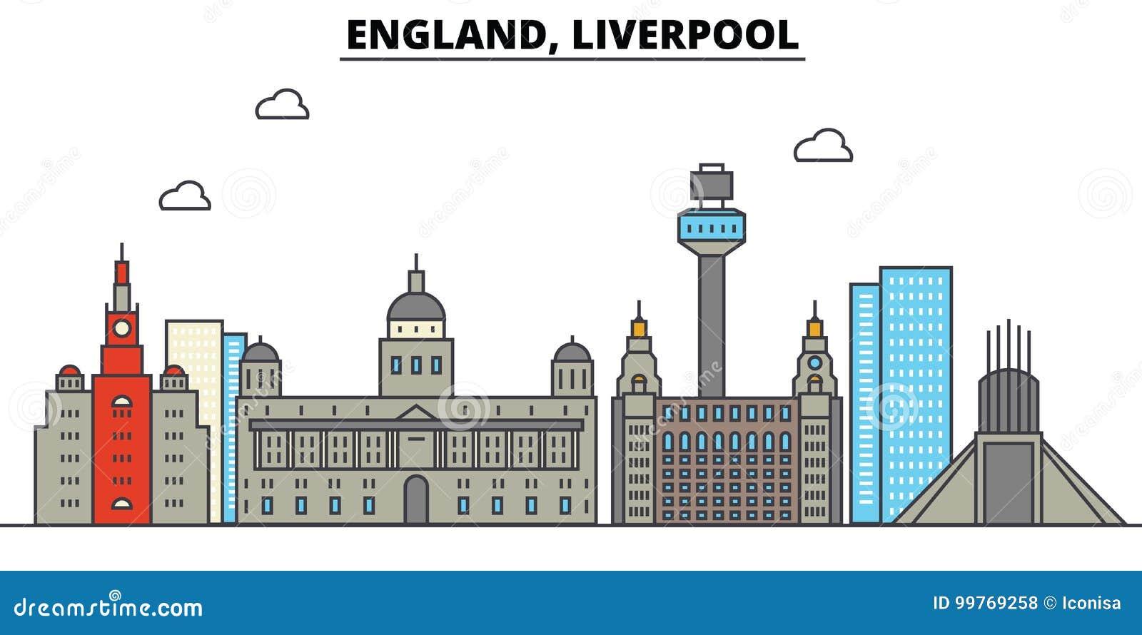 Inglaterra, Liverpool Arquitetura da skyline da cidade editable