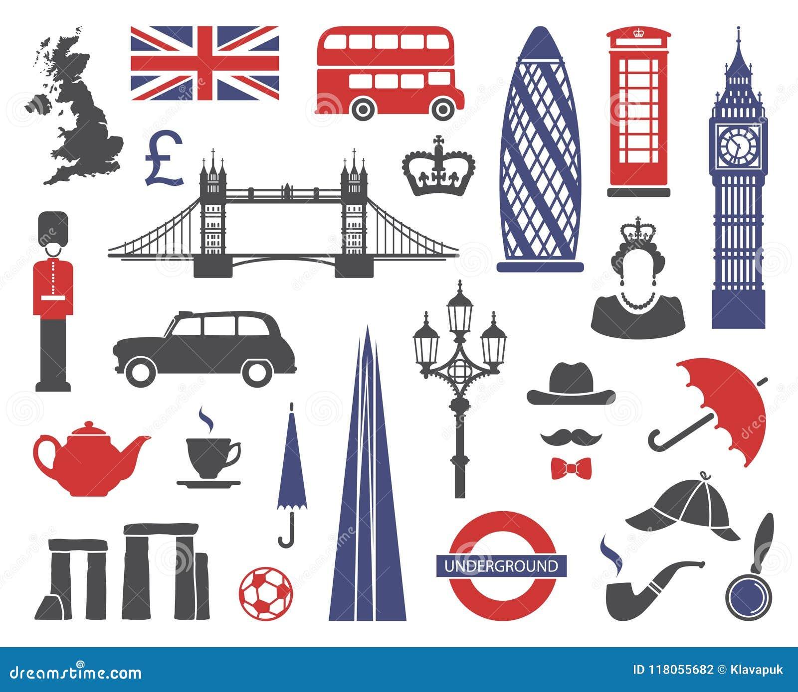 Inglaterra, Londres, Reino Unido Colección de iconos planos