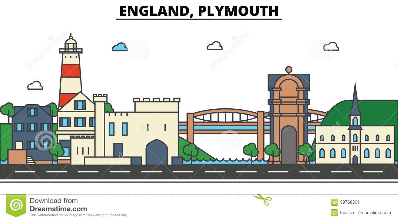 Inglaterra, Plymouth Arquitetura da skyline da cidade editable