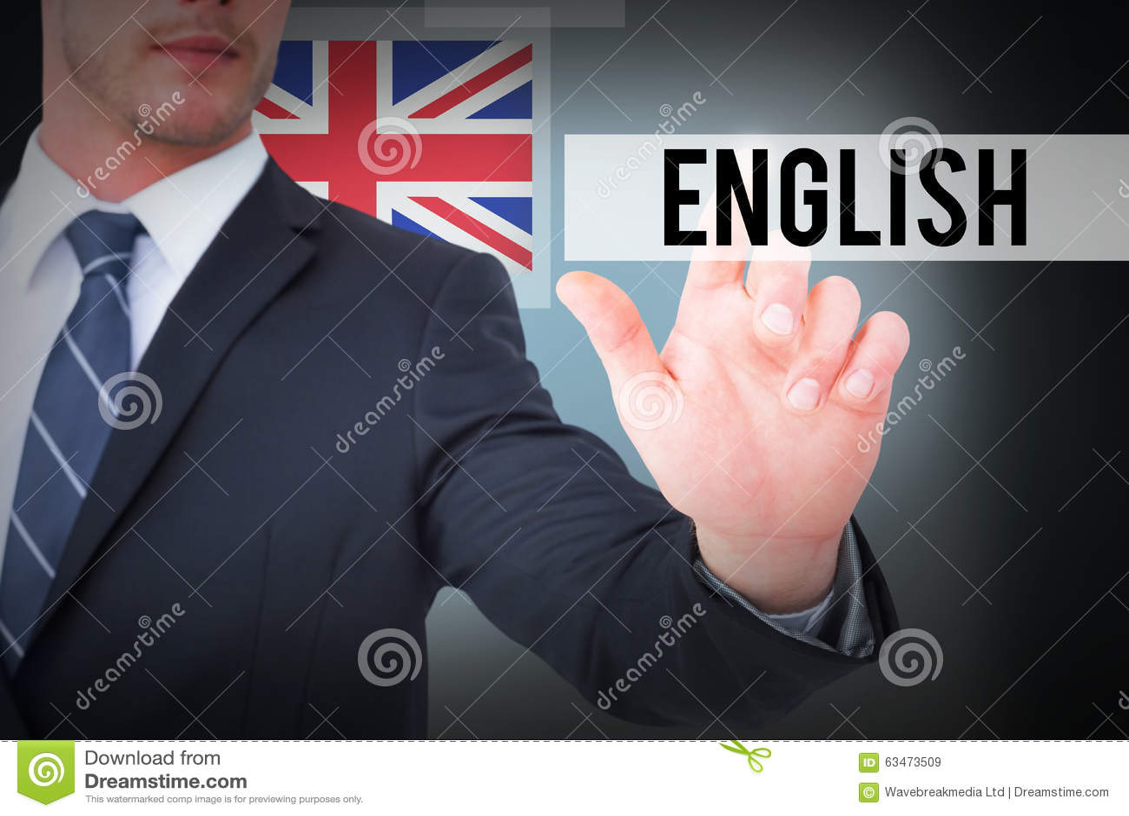 Inglese contro fondo blu con la scenetta