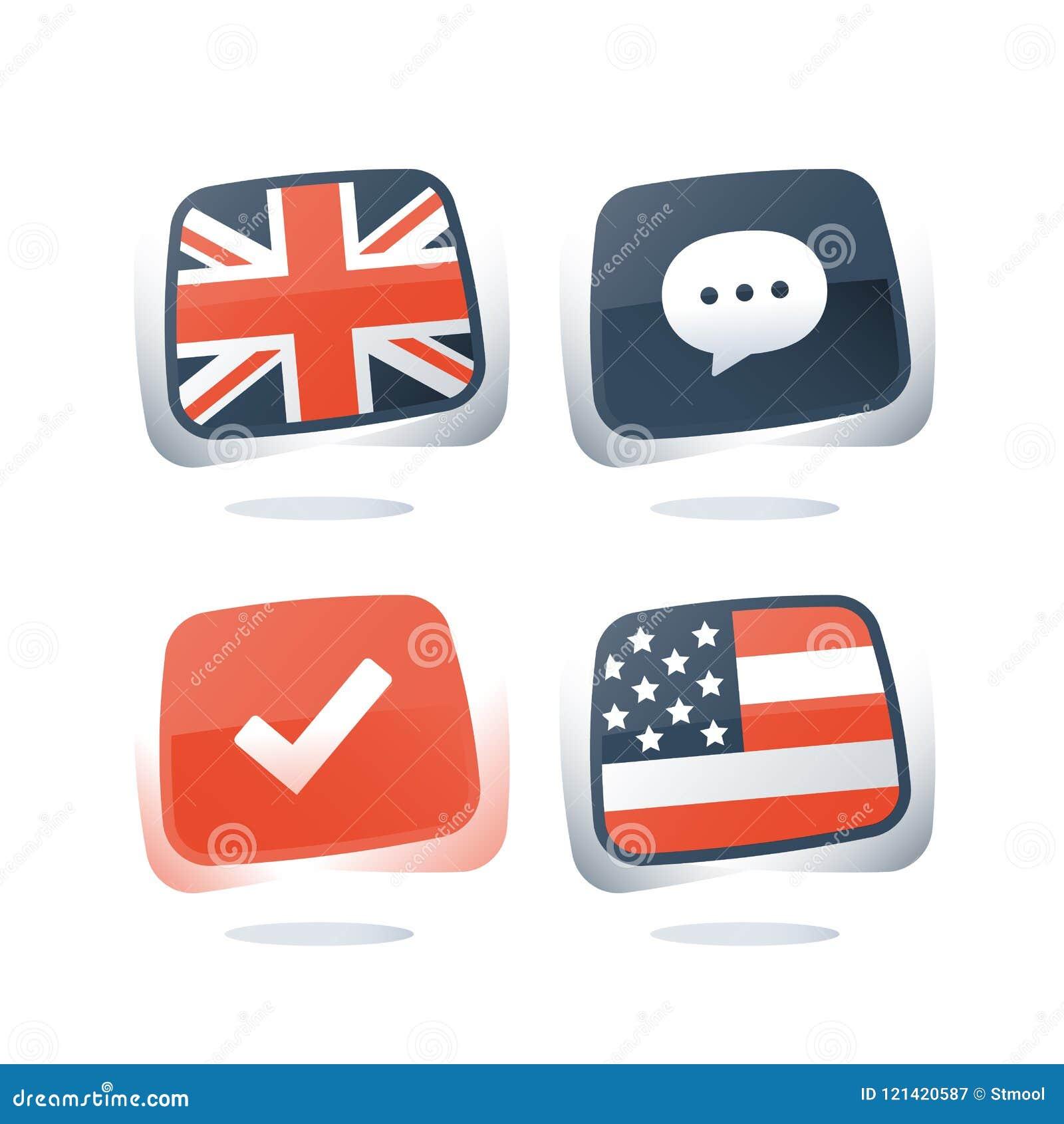 Ingleses e bandeiras dos EUA, língua inglesa e americana, programa aprendendo, em linha lingüístico da preparação do curso, do ex
