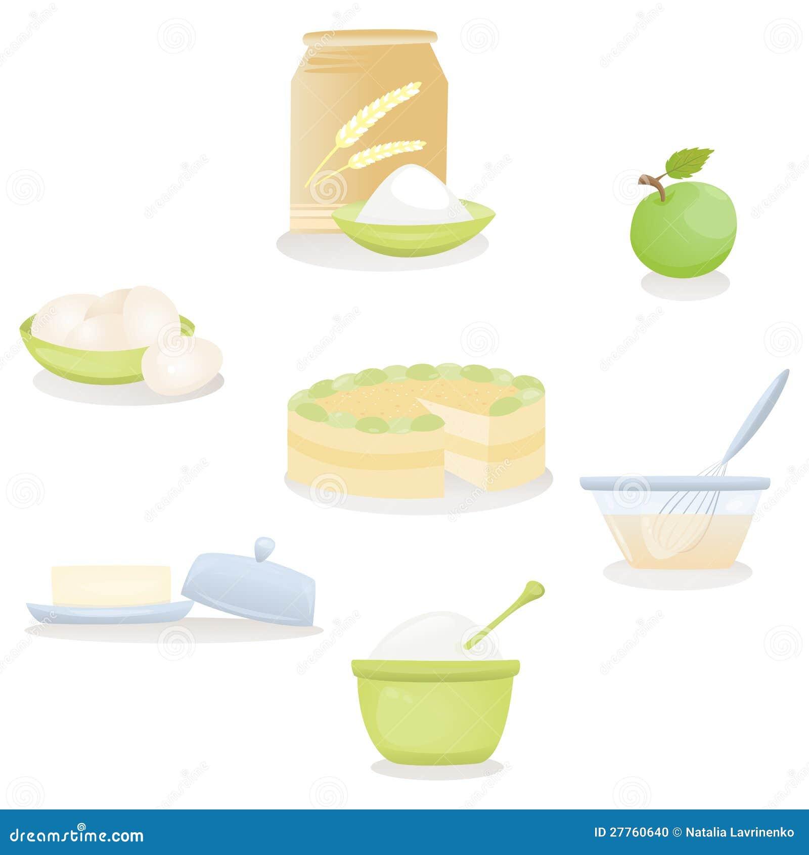 Ingrédients de gâteau aux pommes Réglés