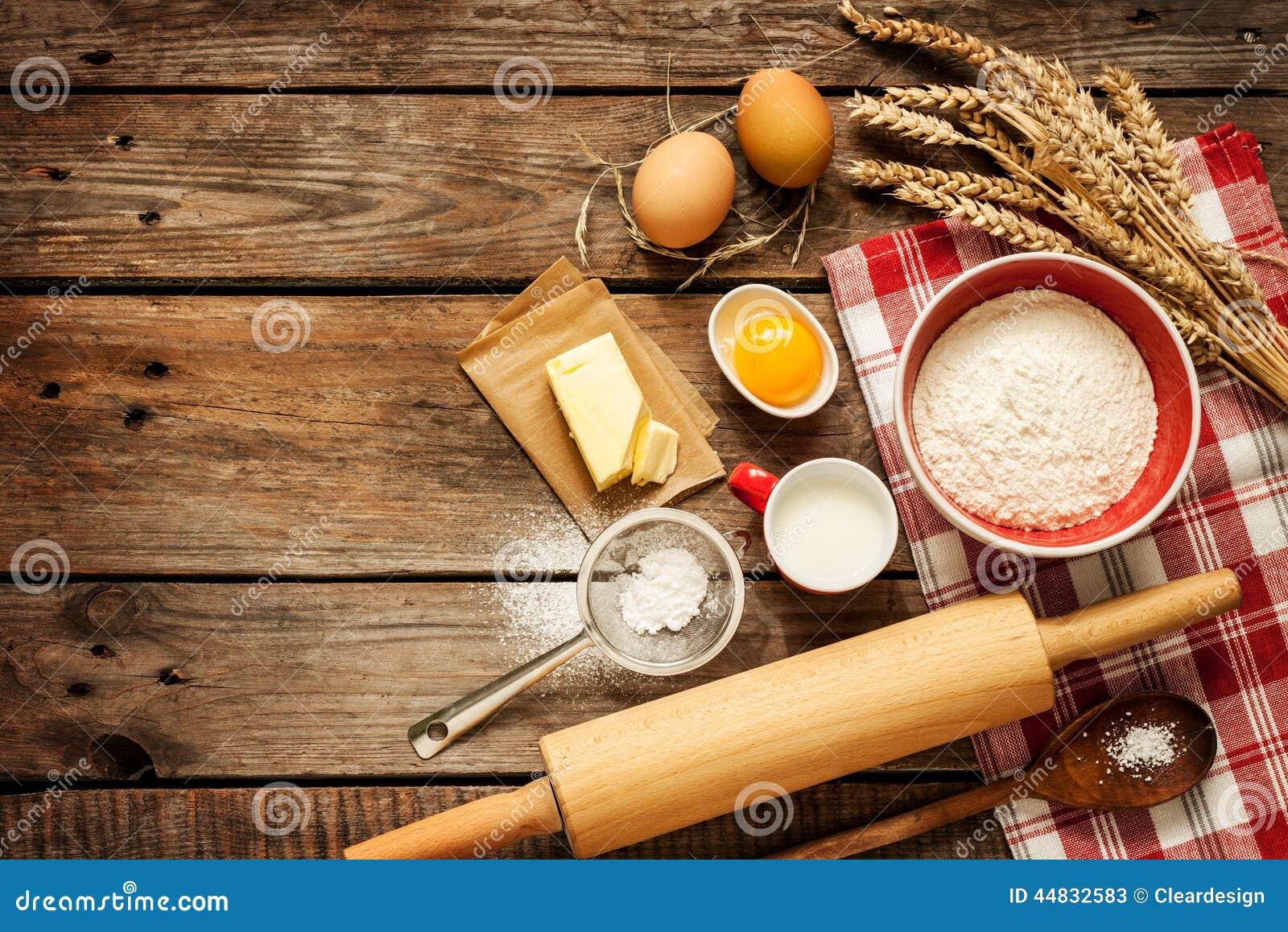 Ingr Dients De Recette De La P Te Sur La Table De Cuisine En Bois Rurale De Vintage Image Stock