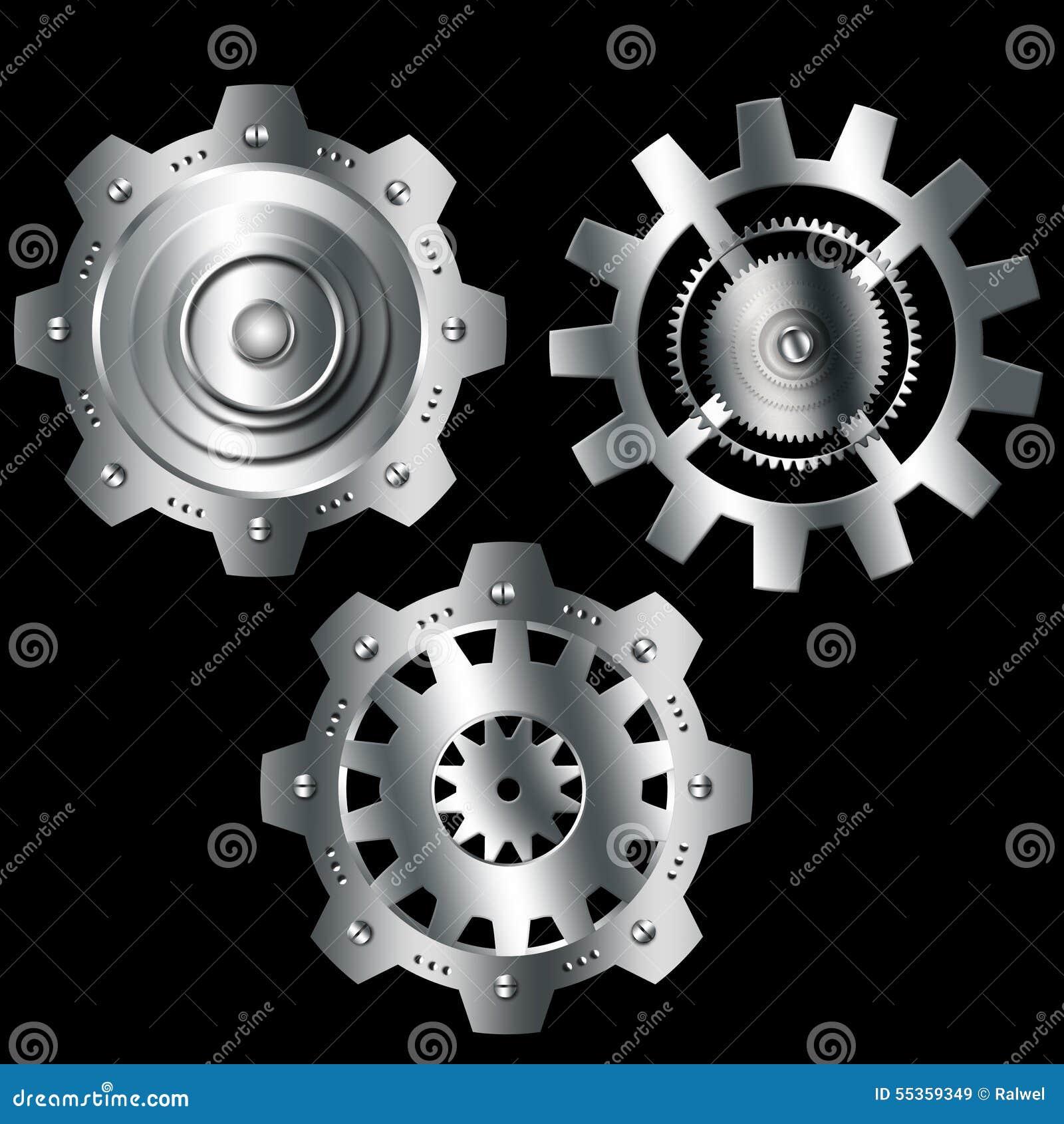 Ingranaggi metallici dell argento del cromo del fondo astratto