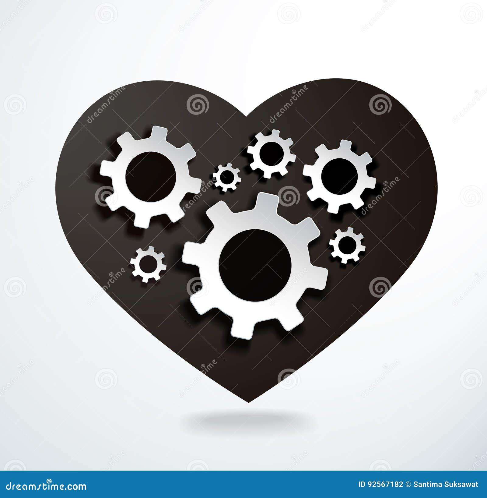 Ingranaggi nell illustrazione di vettore di forma del cuore
