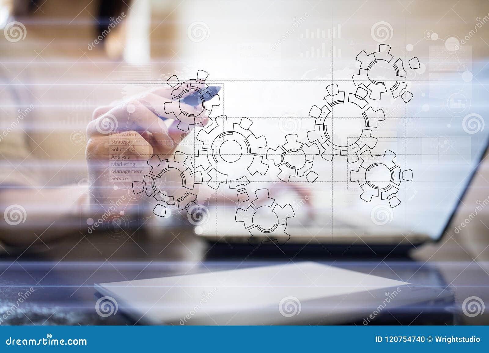 Ingranaggi, progettazione del meccanismo sullo schermo virtuale Sistemi di cad Concetto di affari, di industriale e di tecnologia