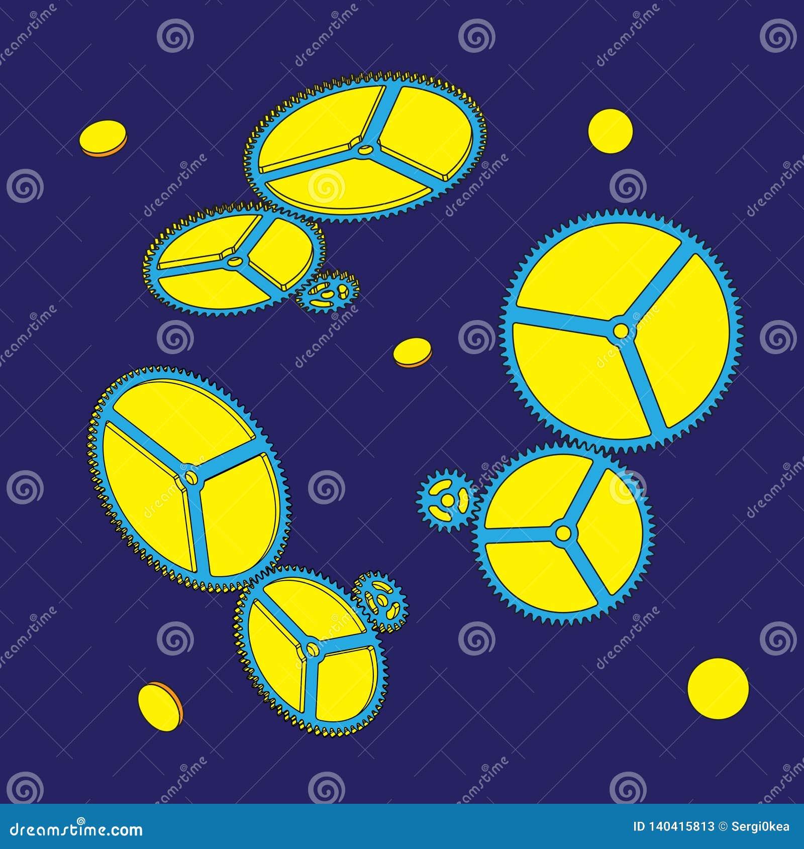 Ingranaggi su fondo blu Illustrazione di vettore