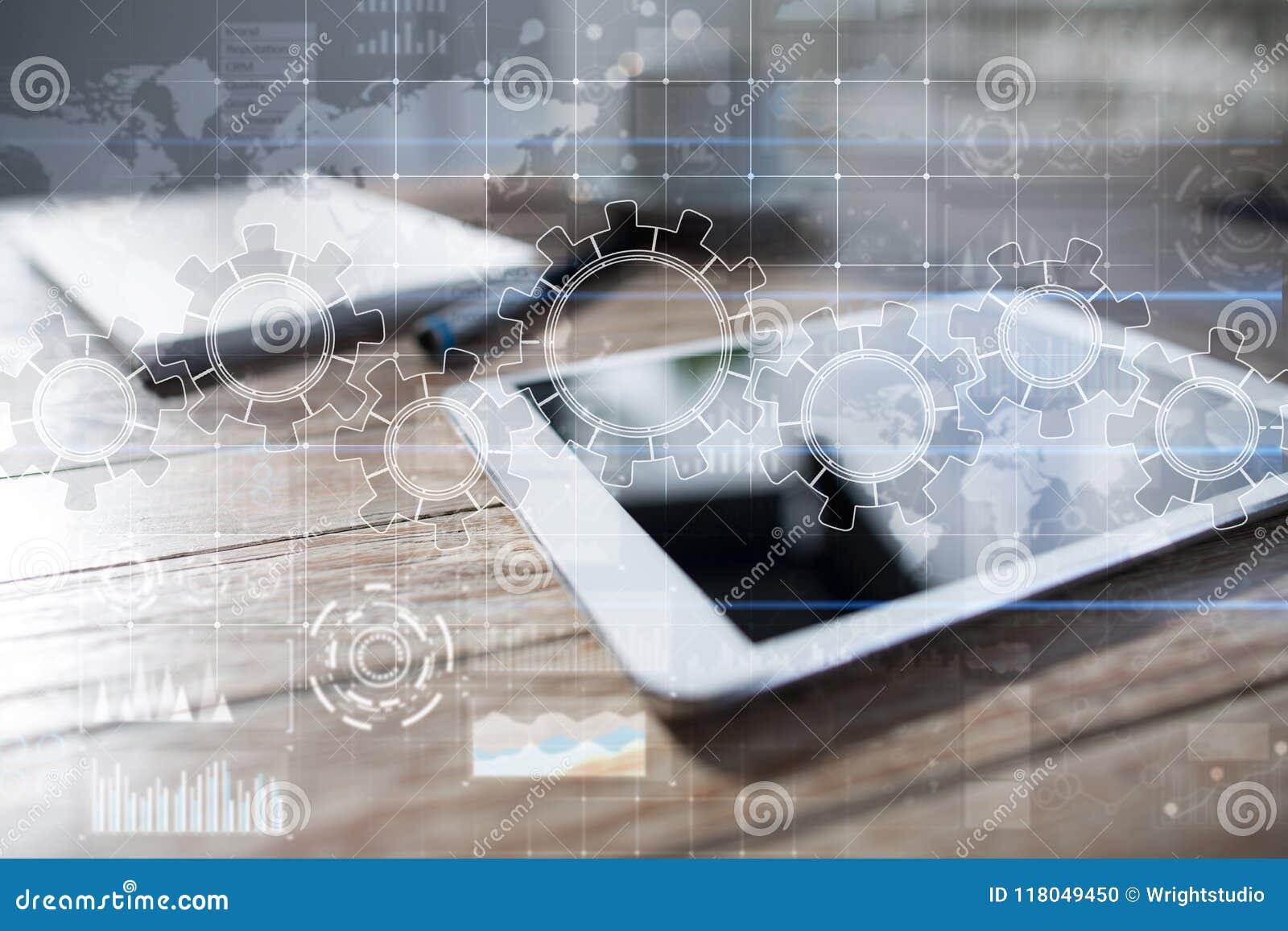 Ingranaggi sullo schermo virtuale Strategia aziendale e concetto di tecnologia Processo di automazione