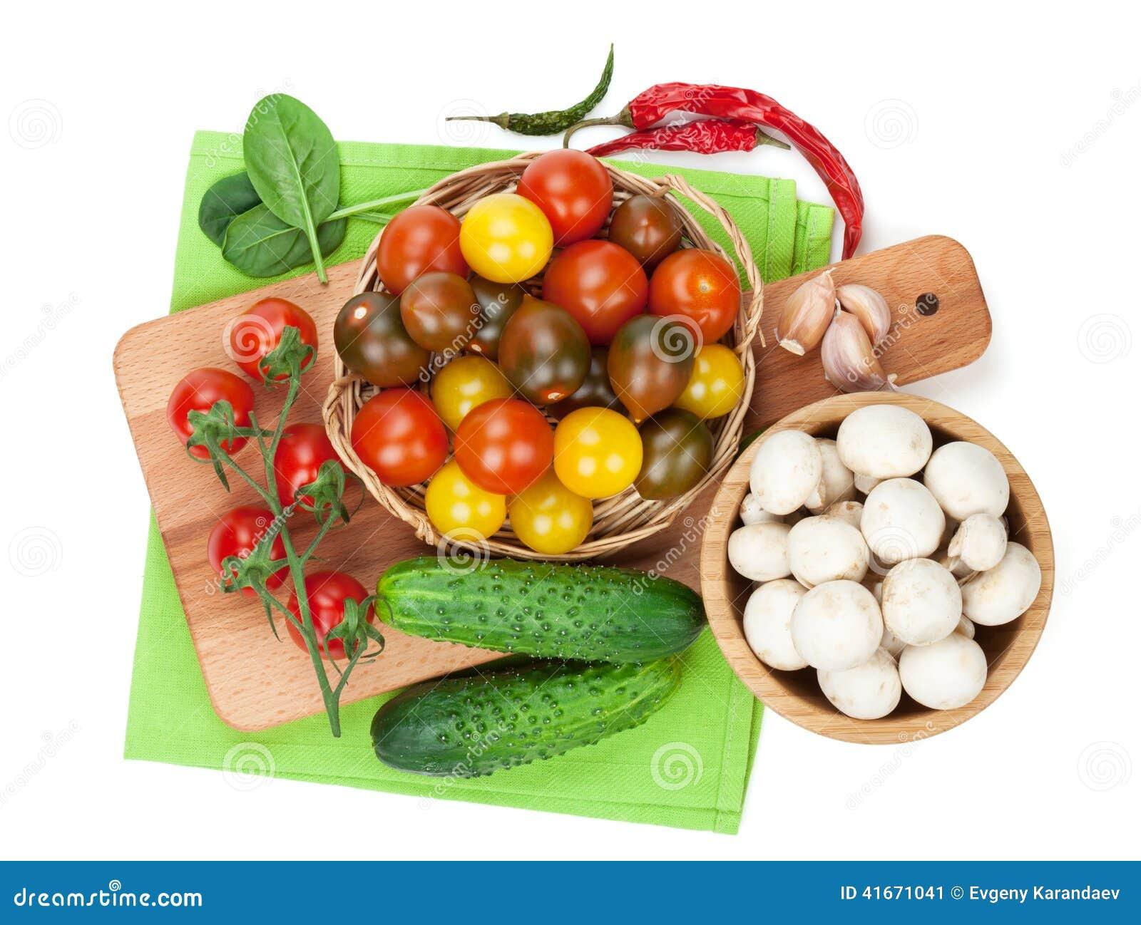 ingr dients frais pour la cuisson tomate concombre champignon et ps photo stock image. Black Bedroom Furniture Sets. Home Design Ideas