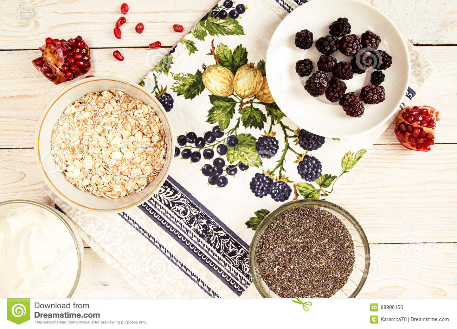 Ingredient for preparing healthy breakfast: chia, muesli, frozen