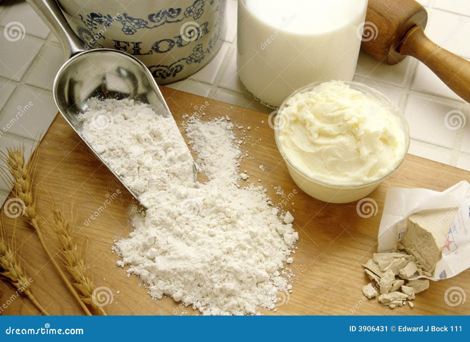 Ingredientes da farinha e do cozimento