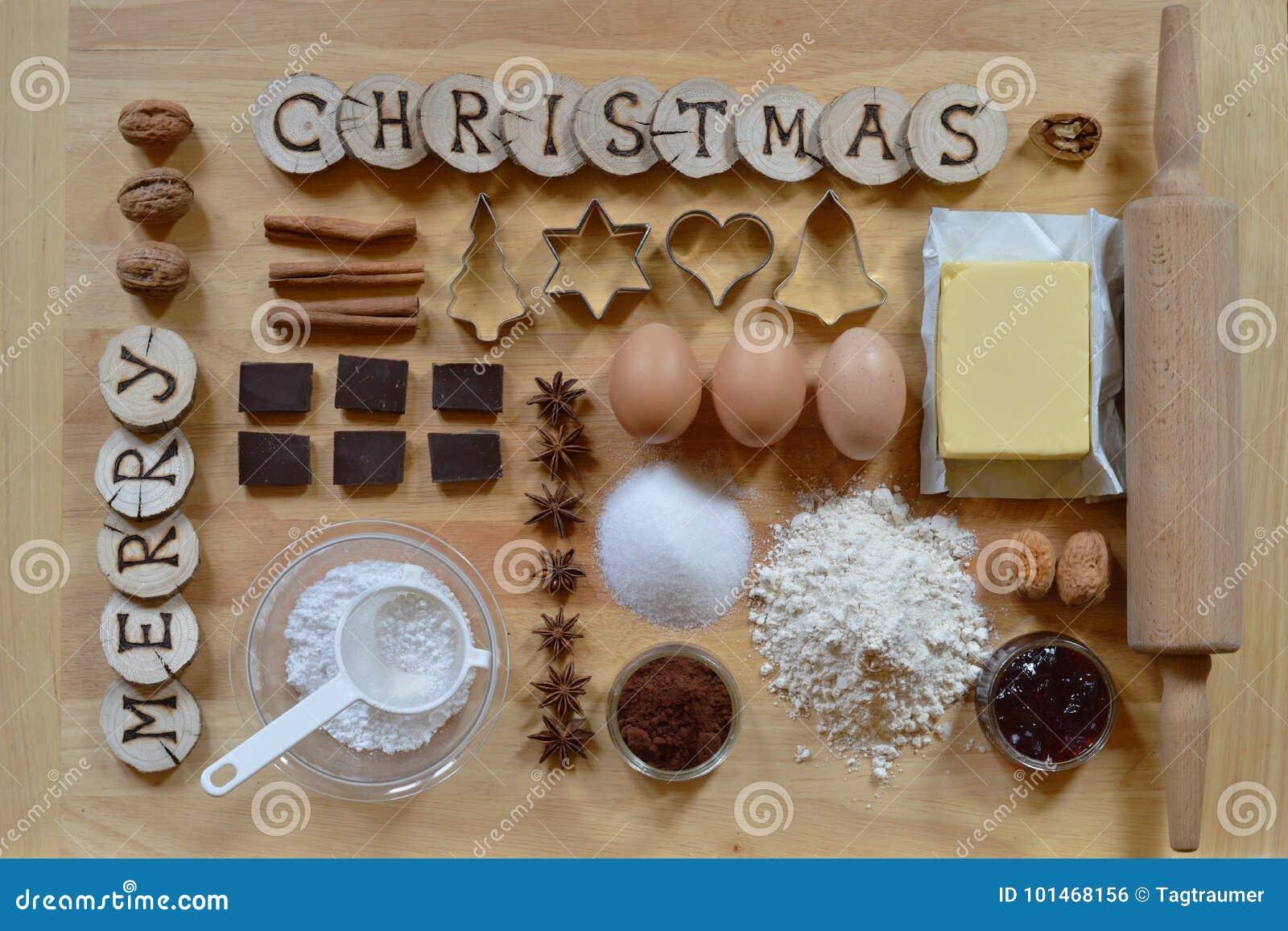 Ingredientes de la hornada para las galletas de la Navidad