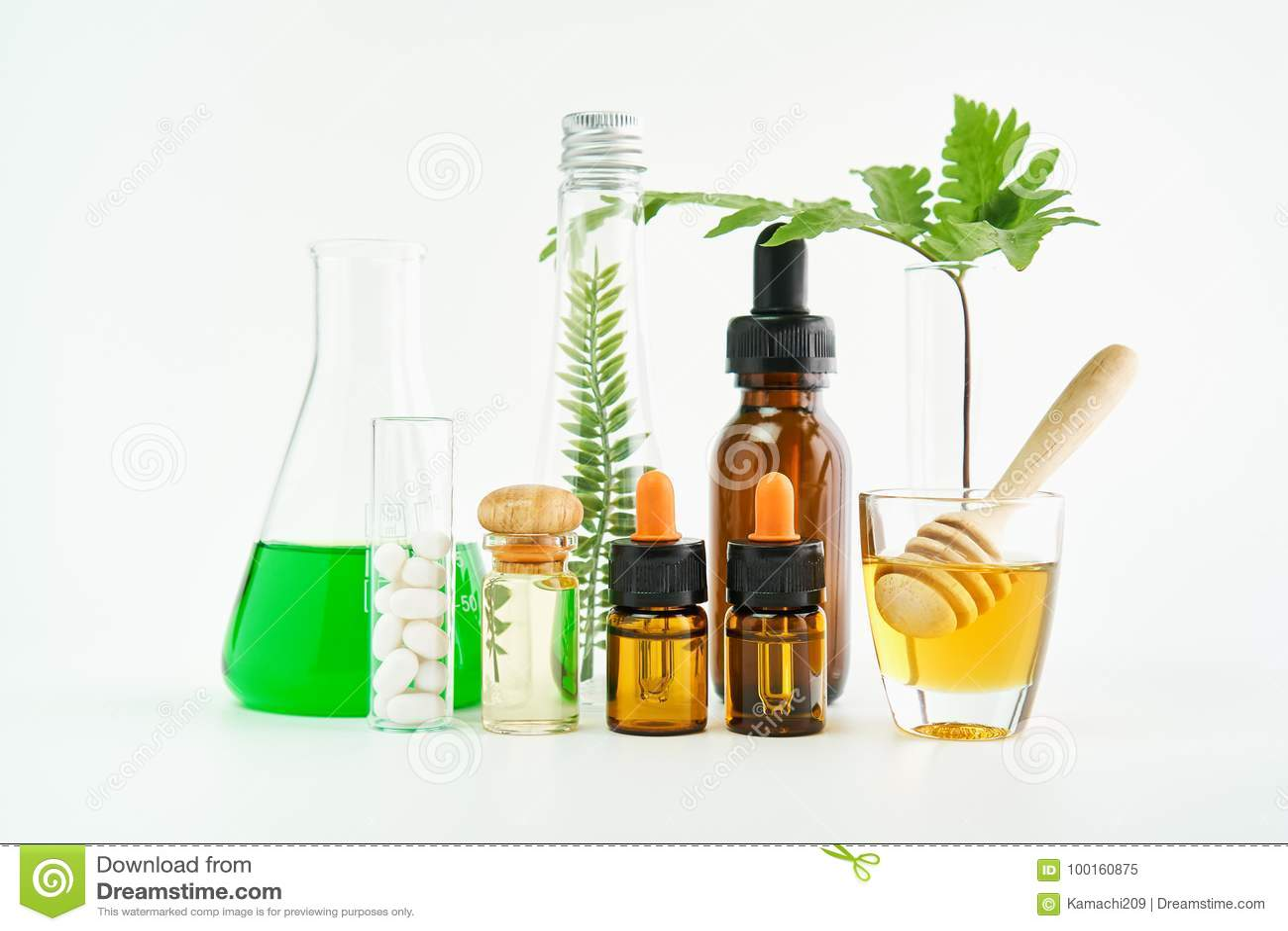 Ingredientes de produtos dos cuidados com a pele E mel no vidro