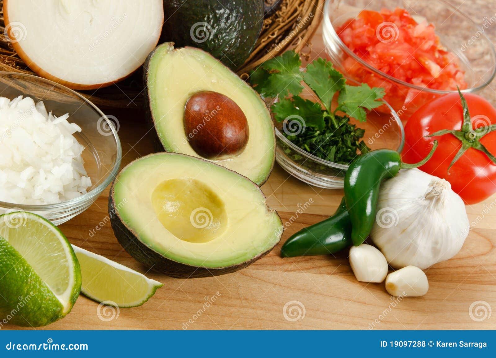 ingredientes del guacamole foto de archivo imagen de