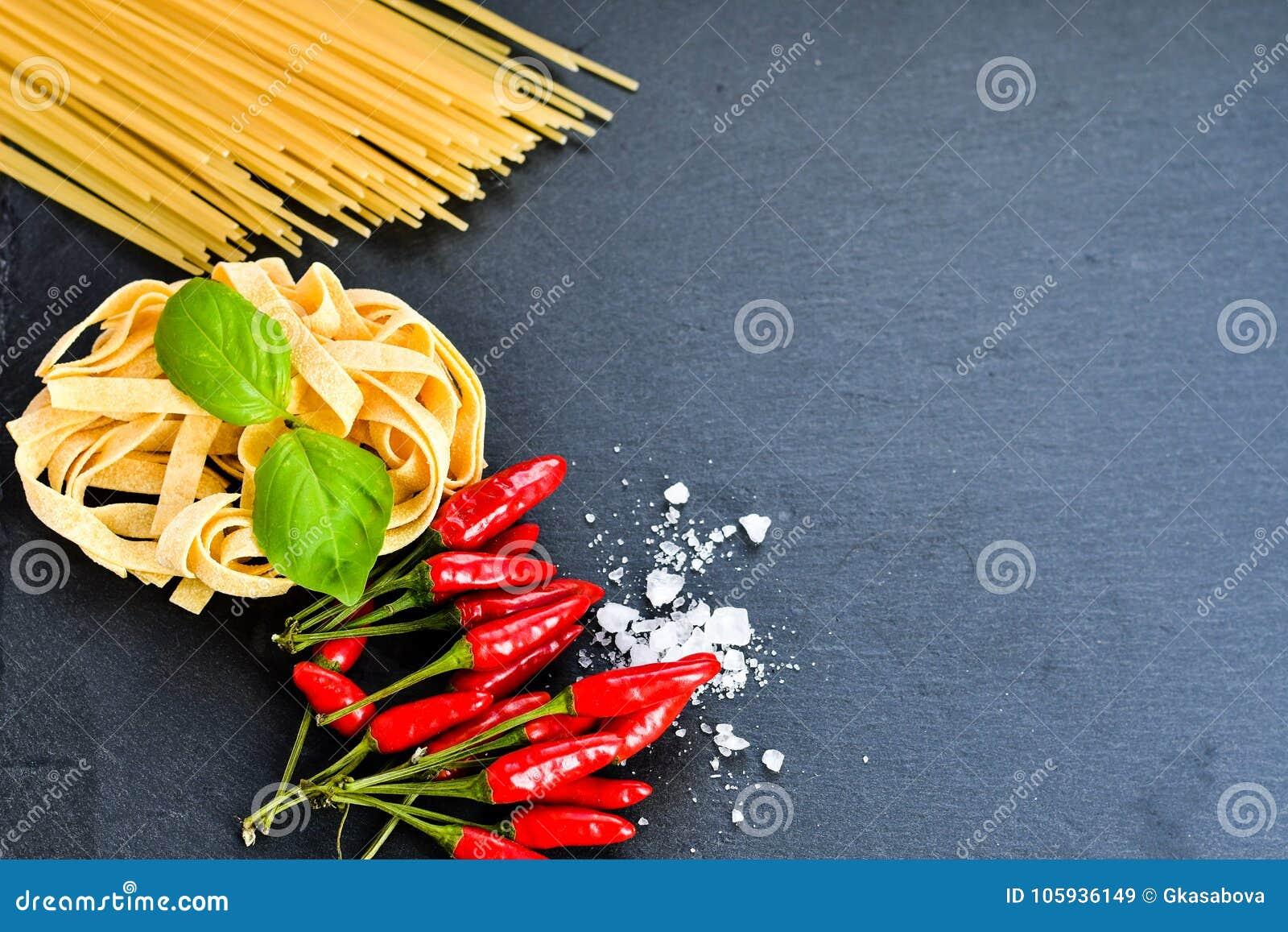 Ingredientes frescos da massa