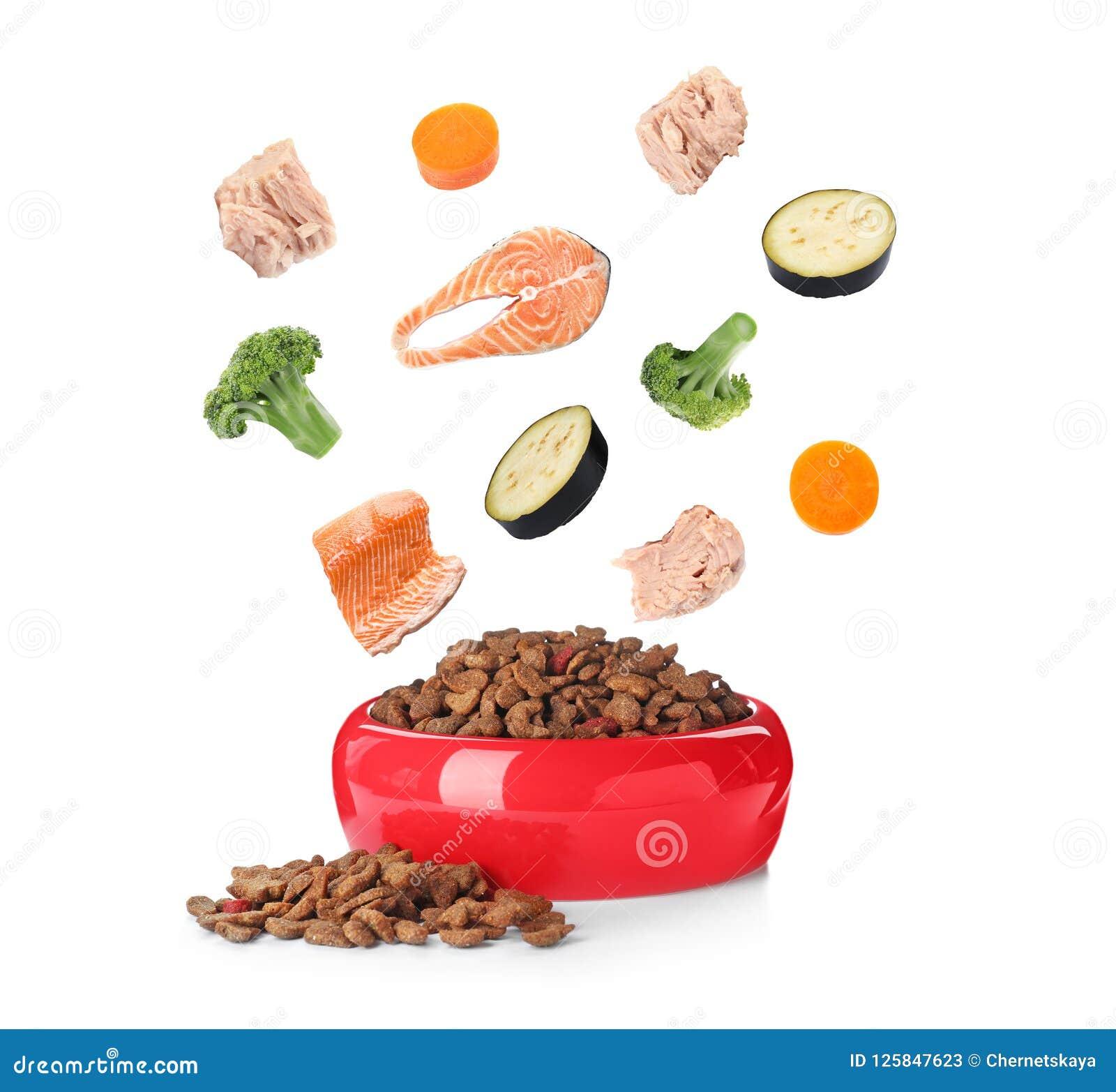 Ingredientes frescos que caen en el cuenco con el alimento para animales seco