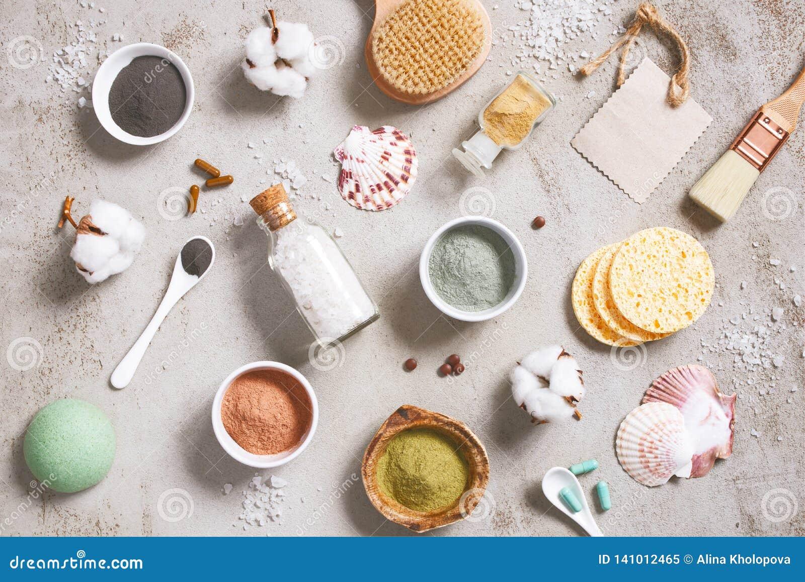 Ingredientes naturales para los cosméticos del cuidado, productos orgánicos del cuidado del cuerpo