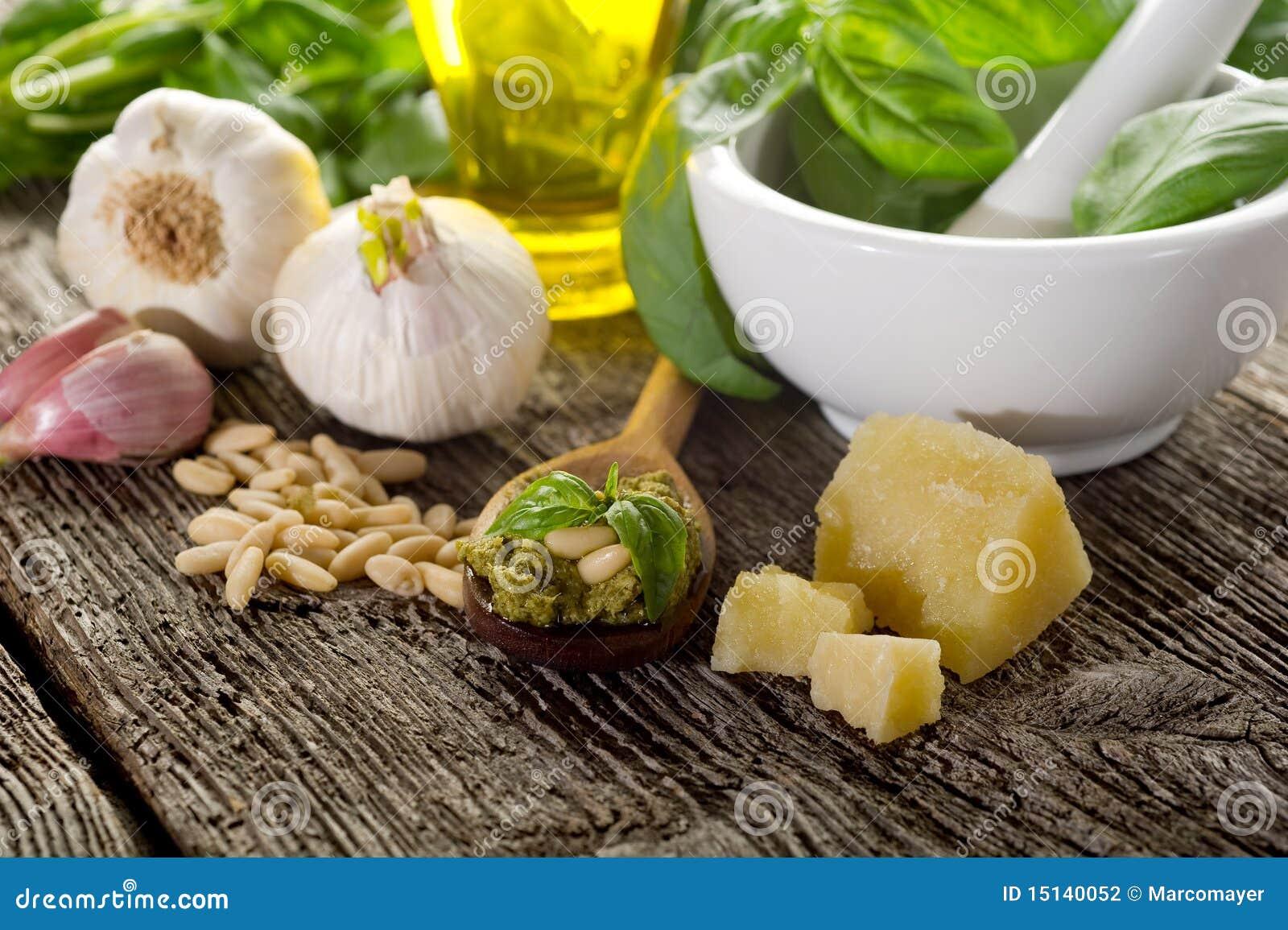 Ingredientes para la salsa del pesto