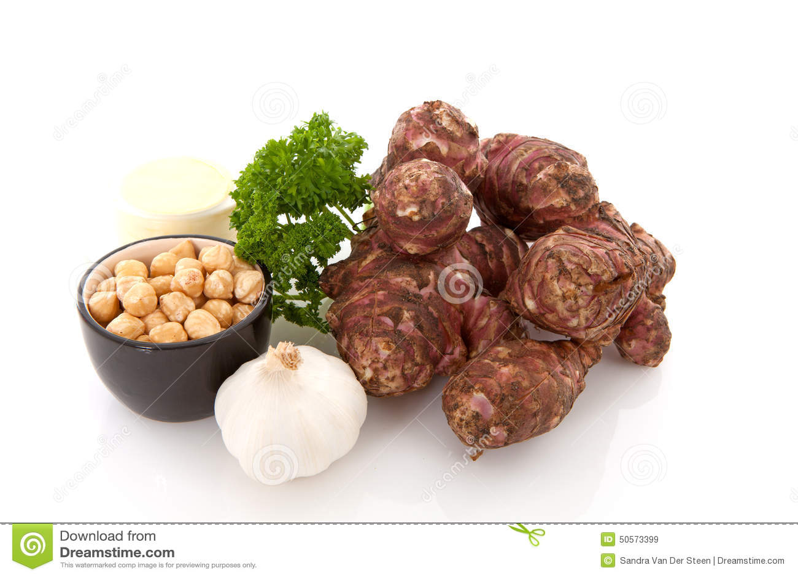 Ingredientes para la sopa de la alcachofa de Jerusalén