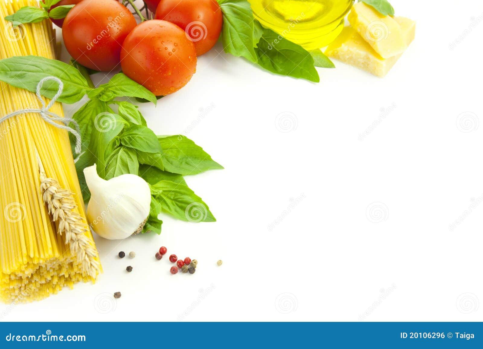 Ingredientes para o cozimento do italiano/quadro