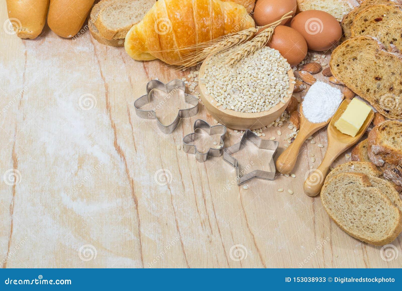 Ingredientes para produtos da padaria