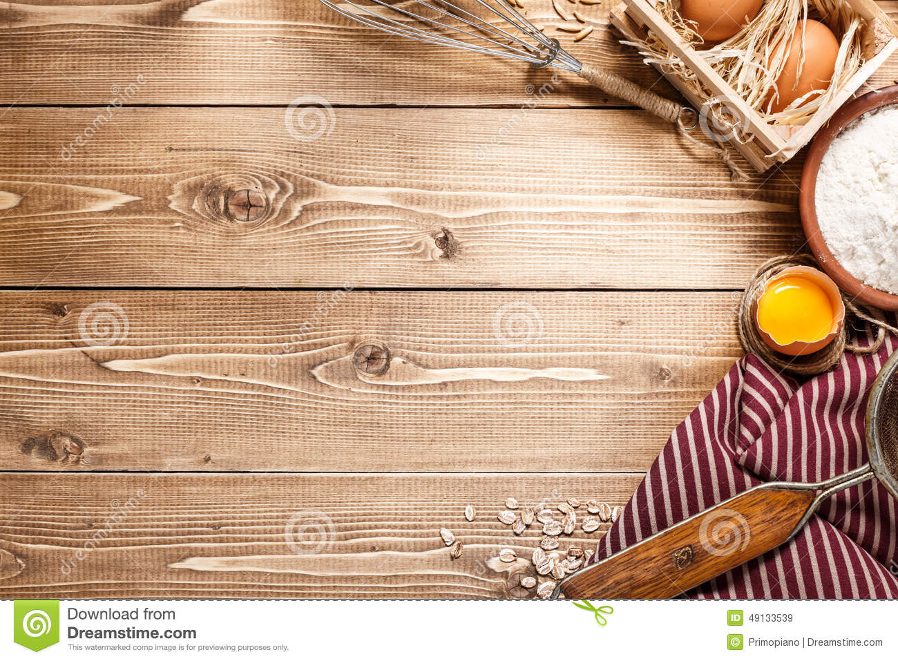Ingredients For Baking On Empty Light Wooden Background