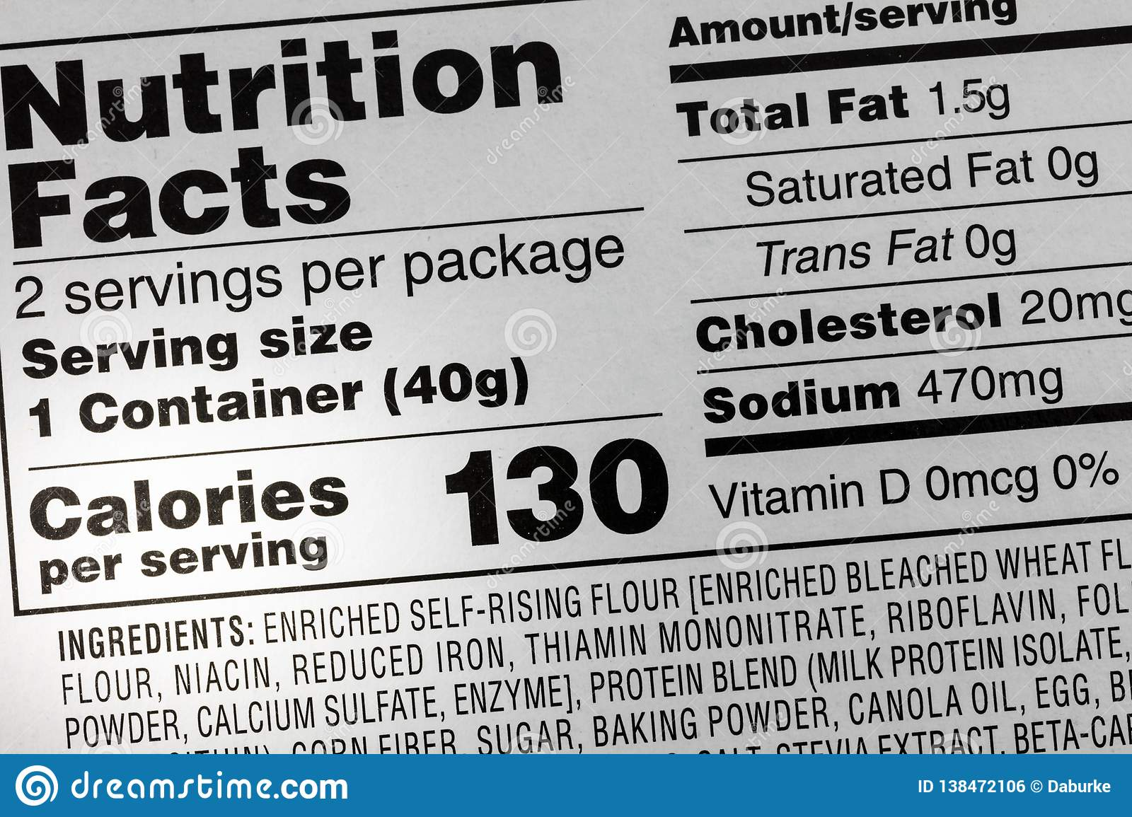 Ingredients calories food sodium label