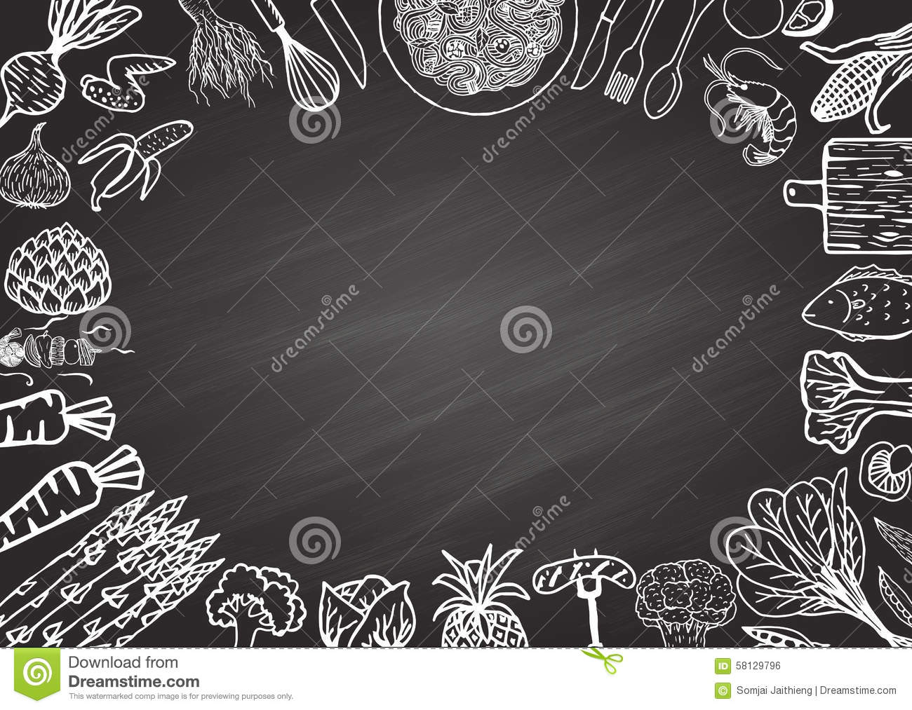 ingredients on chalkboard stock vector illustration of design