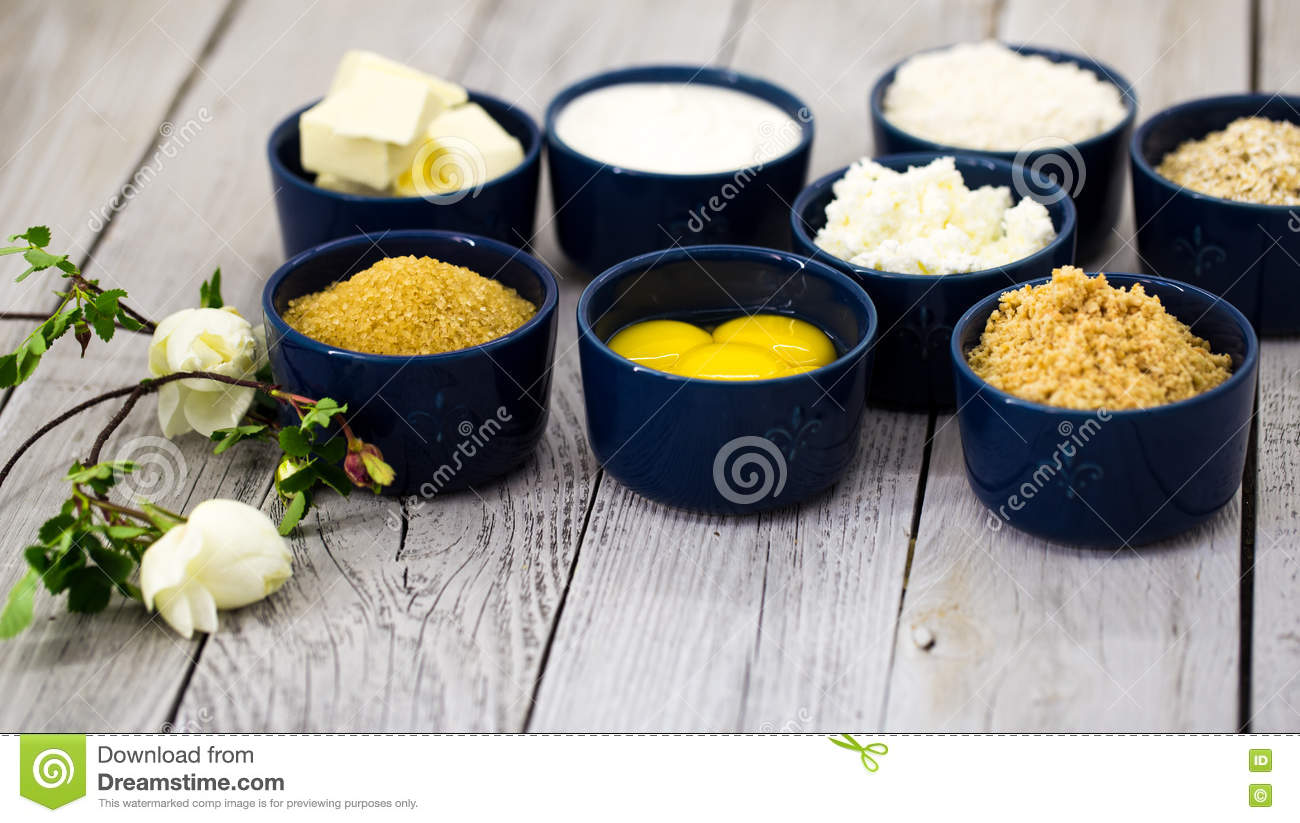 Sour Cream Crackers And Dairy Products Stock Photo
