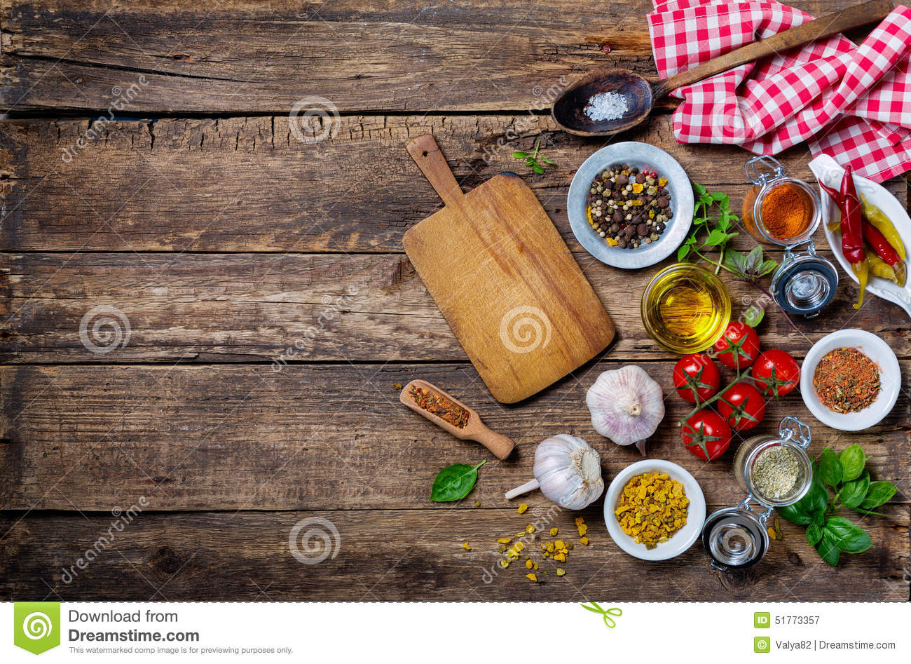 Ingredients for cooking and empty cutting board on stock for Cuisine wooden