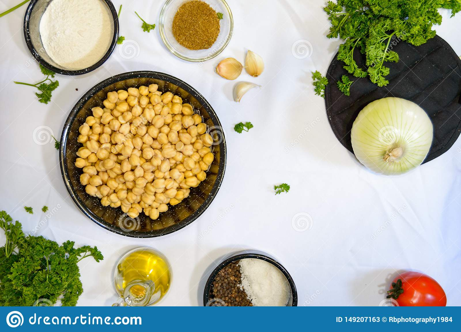 Ingredients For Cooking Middle Eastern Food Stock Image