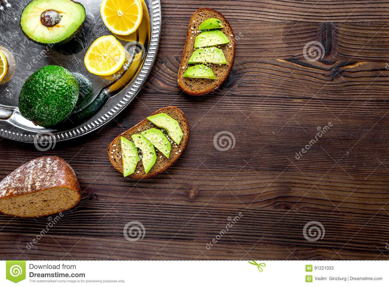 Kitchen table top view - Ingredients For Cooking Sandwiches With Avocado On Kitchen Table Top View Mockup Stock Photo