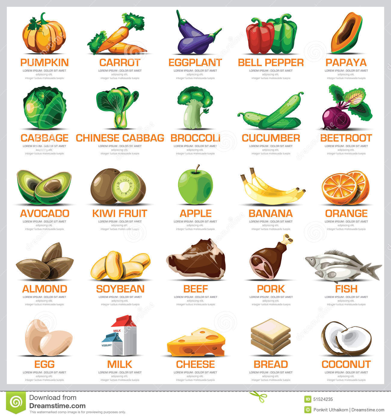 Ingredients Icons Set Vegetable Fruit And Meat For