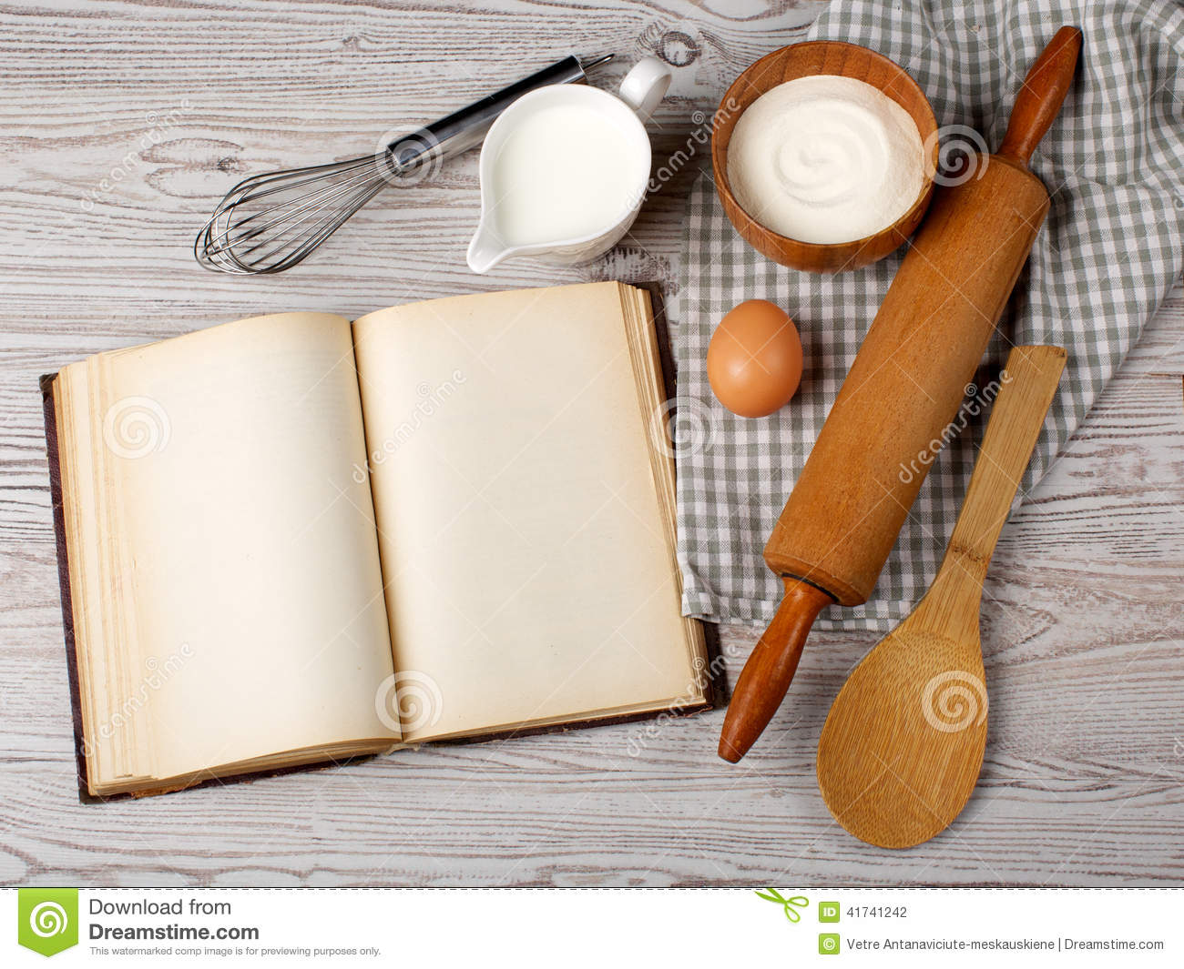 Ingredients And Kitchen Tools With The Old Blank Recipe
