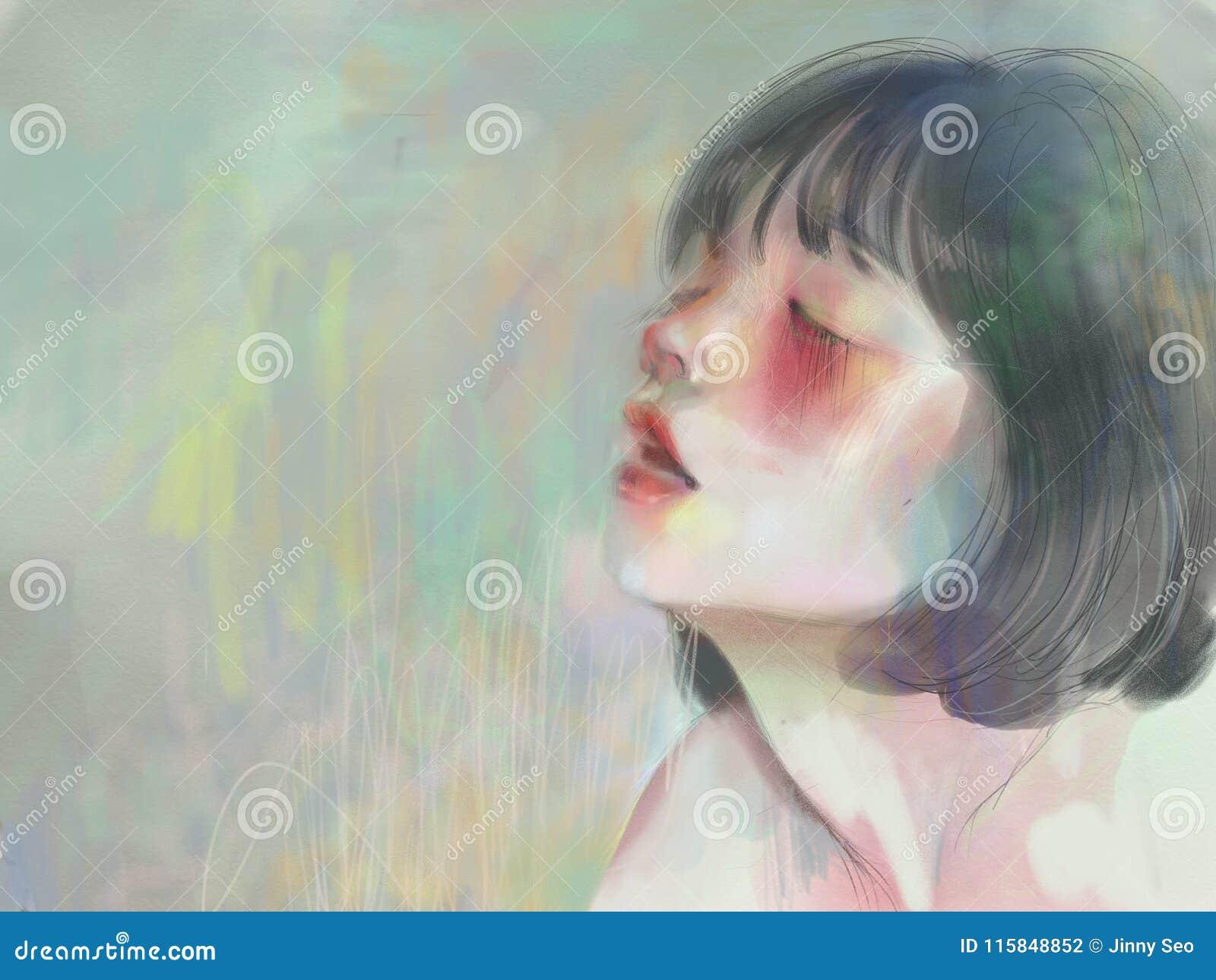 Inhalando, muchacha de ruborización con las mejillas rojas en colores en colores pastel suaves pacíficos