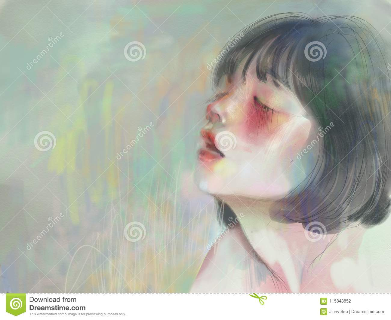 Inhaling, blushing girl with red cheeks in peaceful soft pastel colors