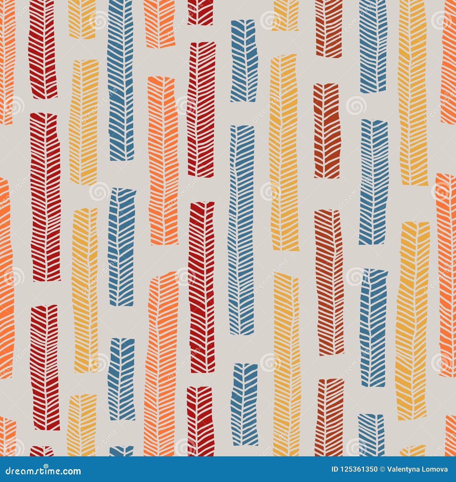 Inheems vector naadloos patroon met inbegrip van enthnic multicolored bladeren als achtergrond of textuur