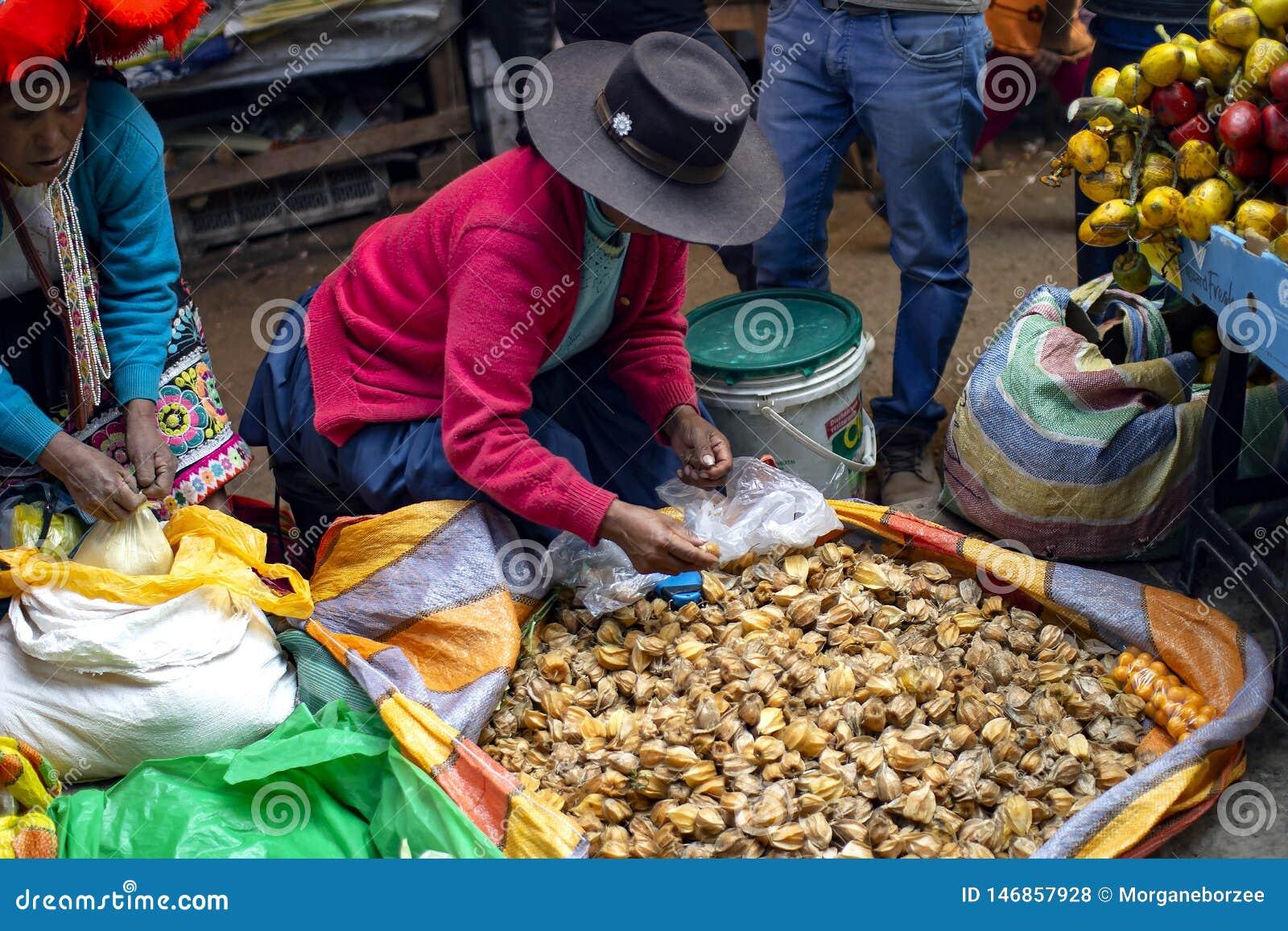 Inheemse ambulante vrouwenzitting ter plaatse en verkopend aguaymantofruit
