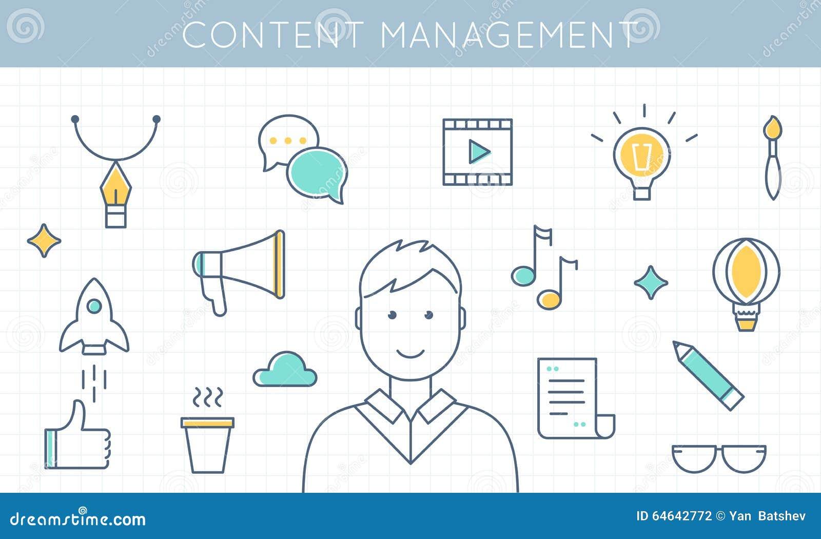 Inhoud Beheer en Marketing Illustratie