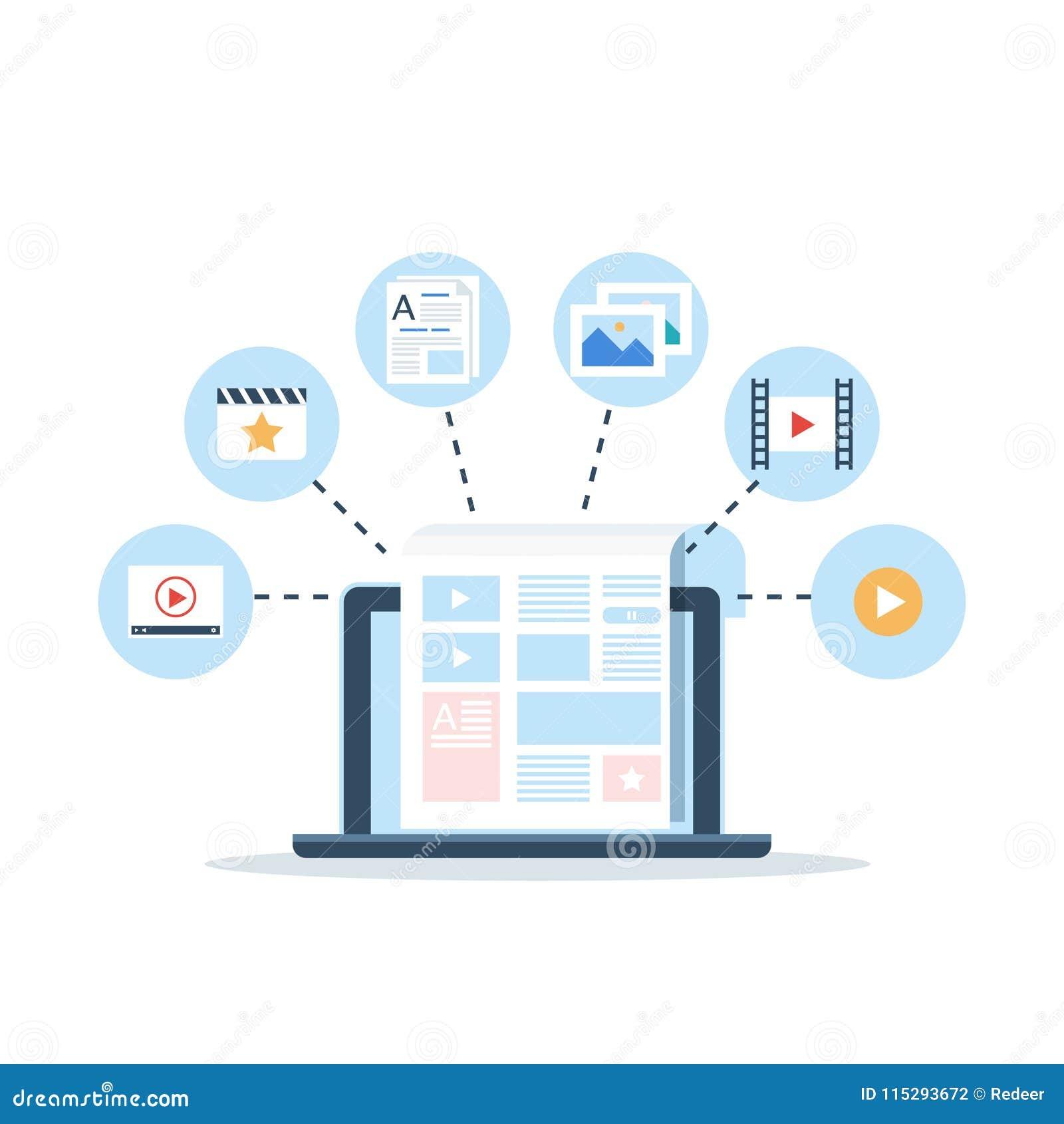 Inhoud Marketing, Blogging en SMM-concept in vlak ontwerp De blogpagina vult met inhoud in artikelen en media