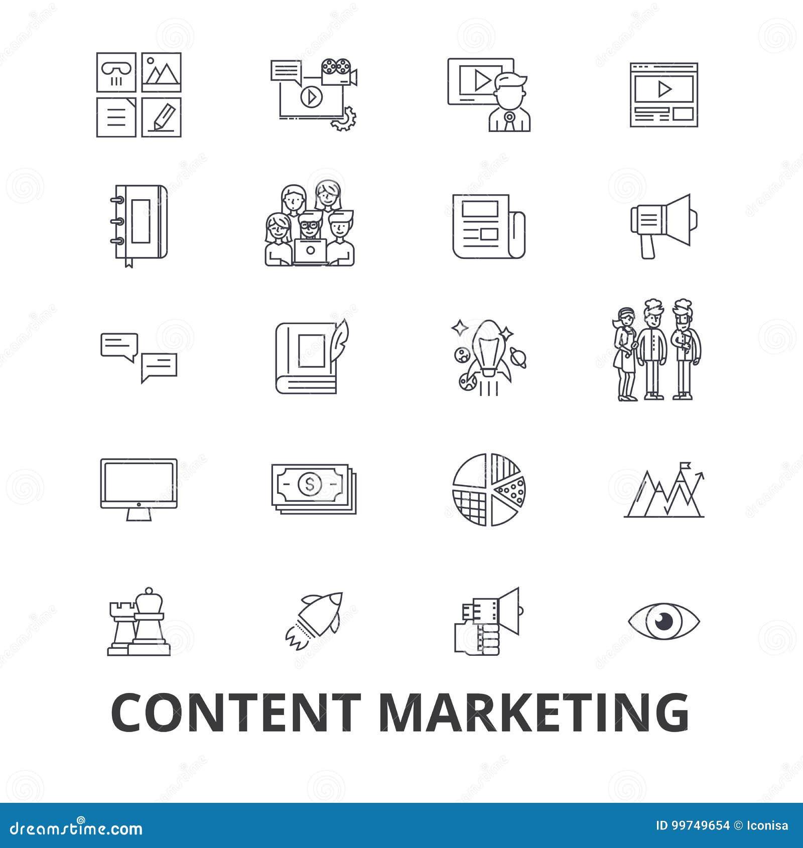 Inhoud marketing, sociale media, beheer, online, het schrijven tekst, de pictogrammen van de informatielijn Editableslagen Vlak O