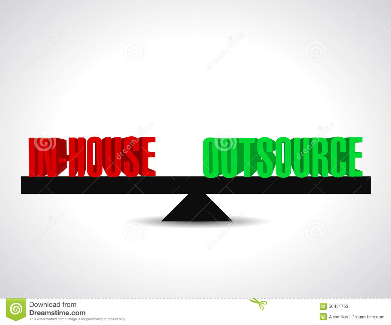 inhouse and outsource balance illustration design stock