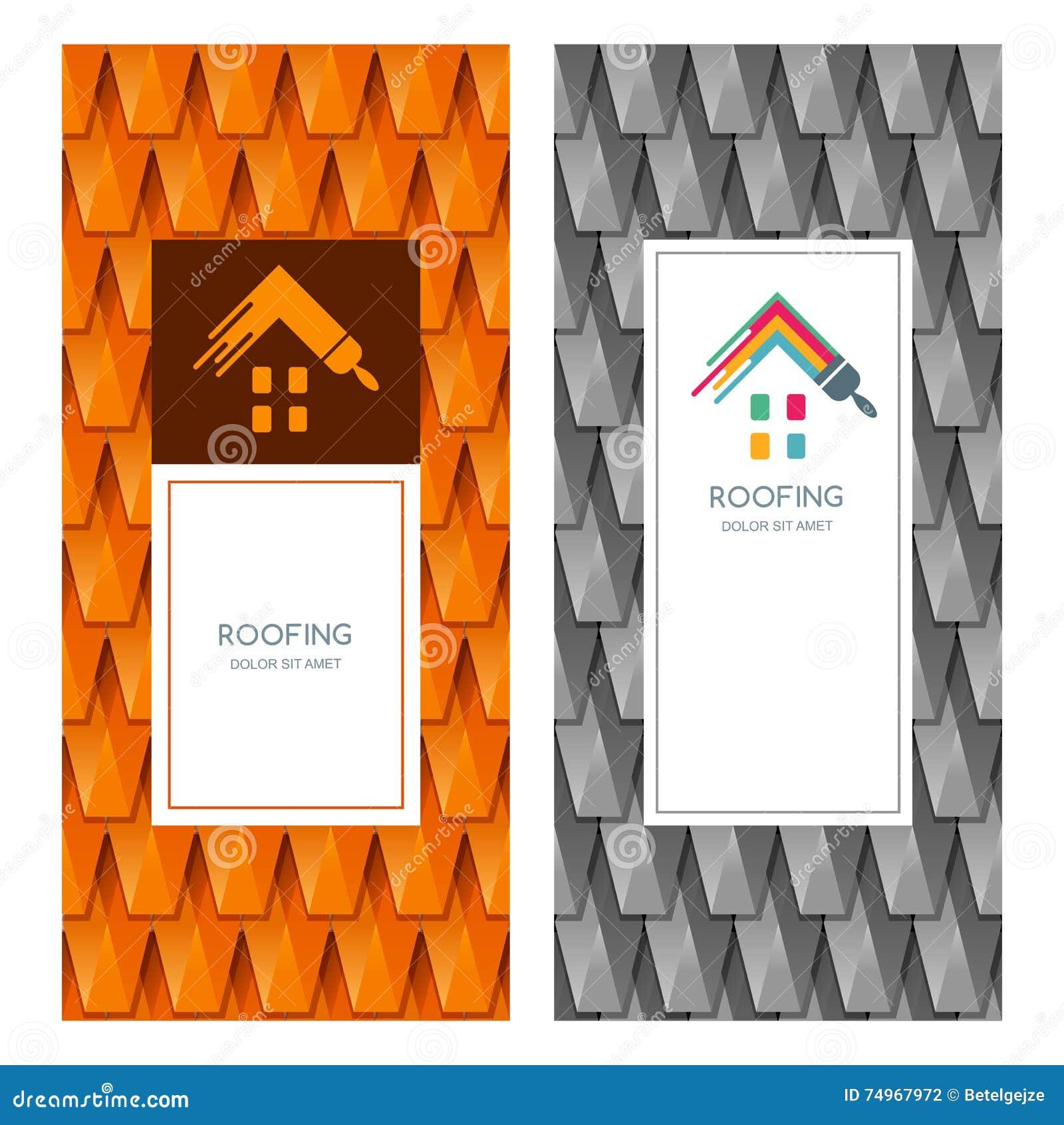 Inhysa reparationen och takläggalogoen, etiketten, emblemdesignbeståndsdelar