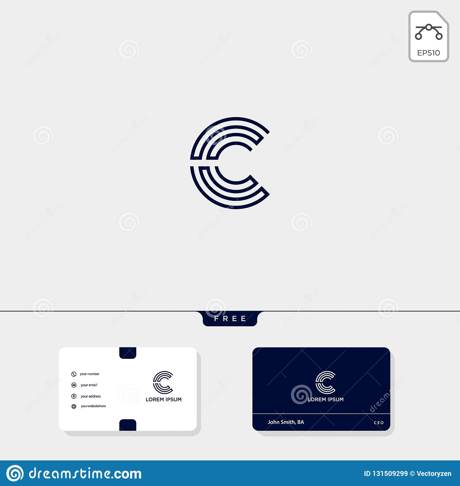 Initial C, CC creative logo template and business card design template include. vector illustration and logo inspiration