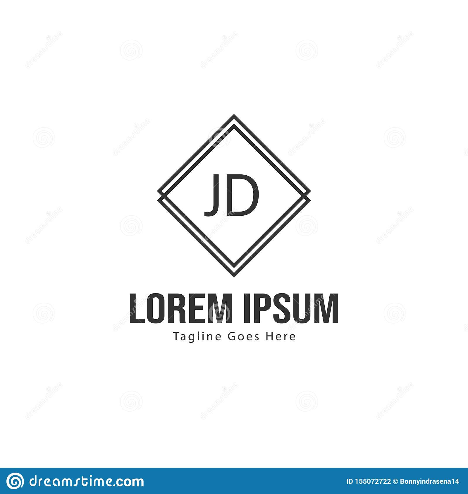 initial jd logo template with modern frame minimalist jd letter logo vector illustration stock vector illustration of vintage text 155072722 dreamstime com